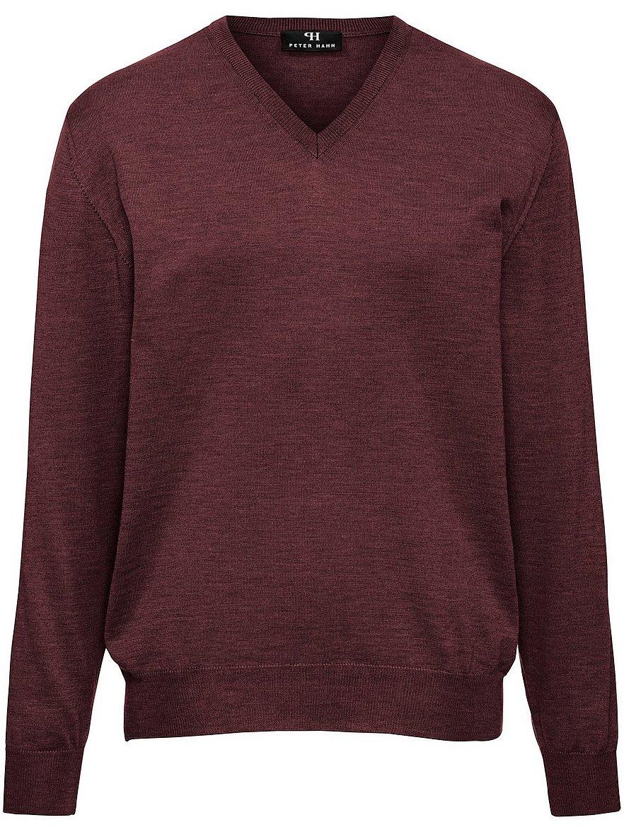 peter hahn - V-Pullover aus 100% Schurwolle-Merino extrafein  rot Größe: 50