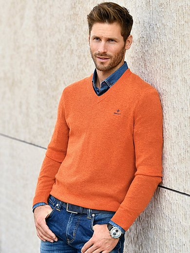 Gant V Neck Pullover Orange