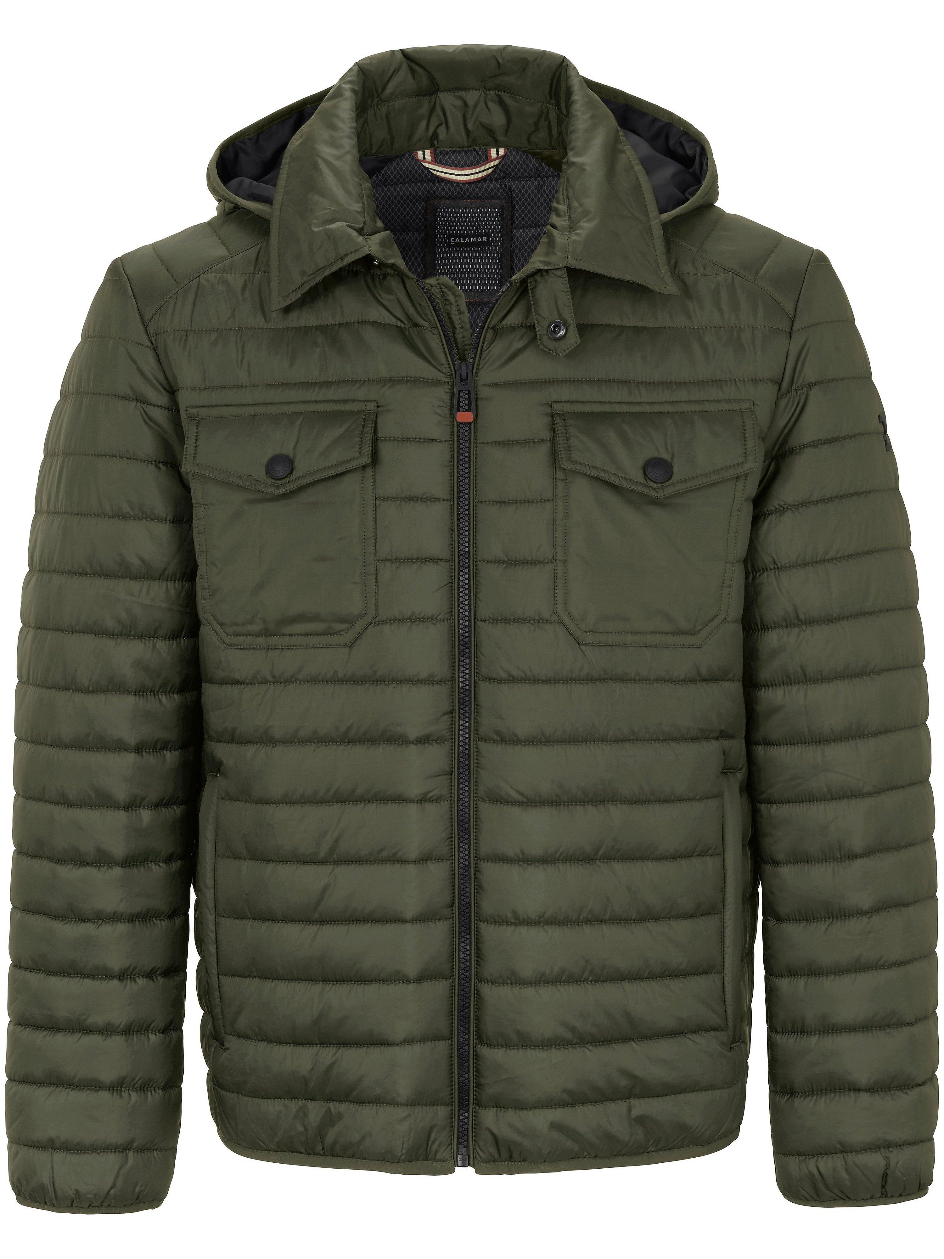 Quilted jacket zip-off hood CALAMAR green