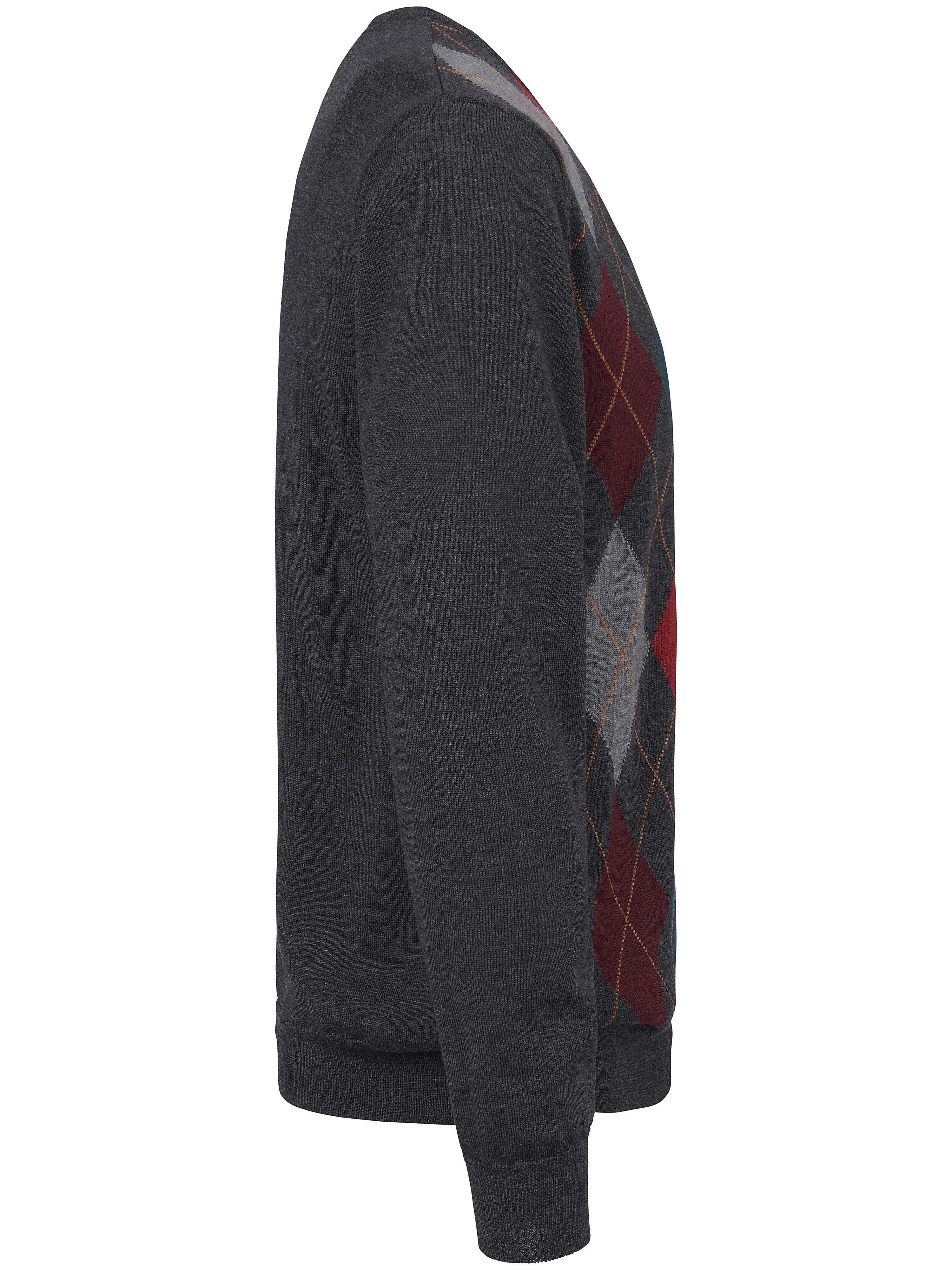 V-bluse 100 ren ny uld/merino Fra Louis Sayn grå