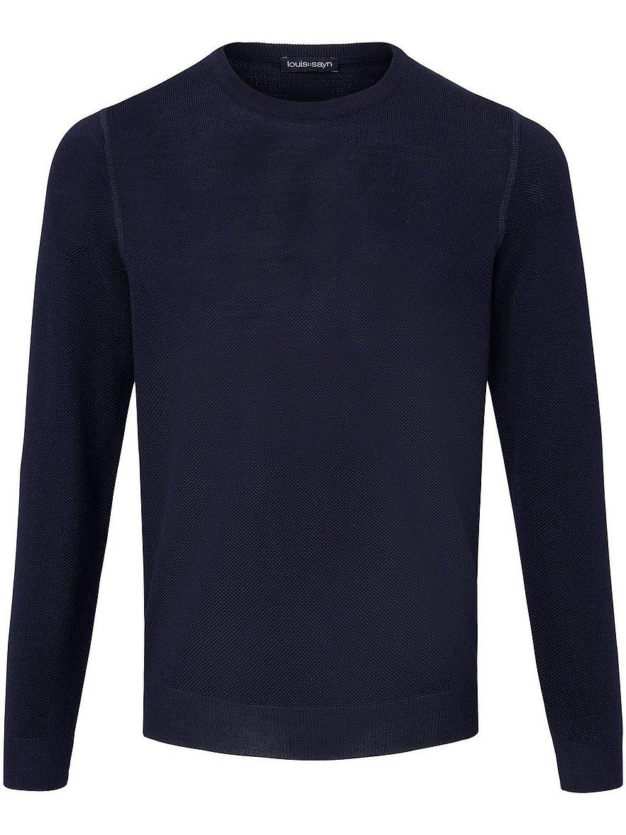 louis sayn - Rundhals-Pullover aus 100% Schurwolle  blau Größe: 58