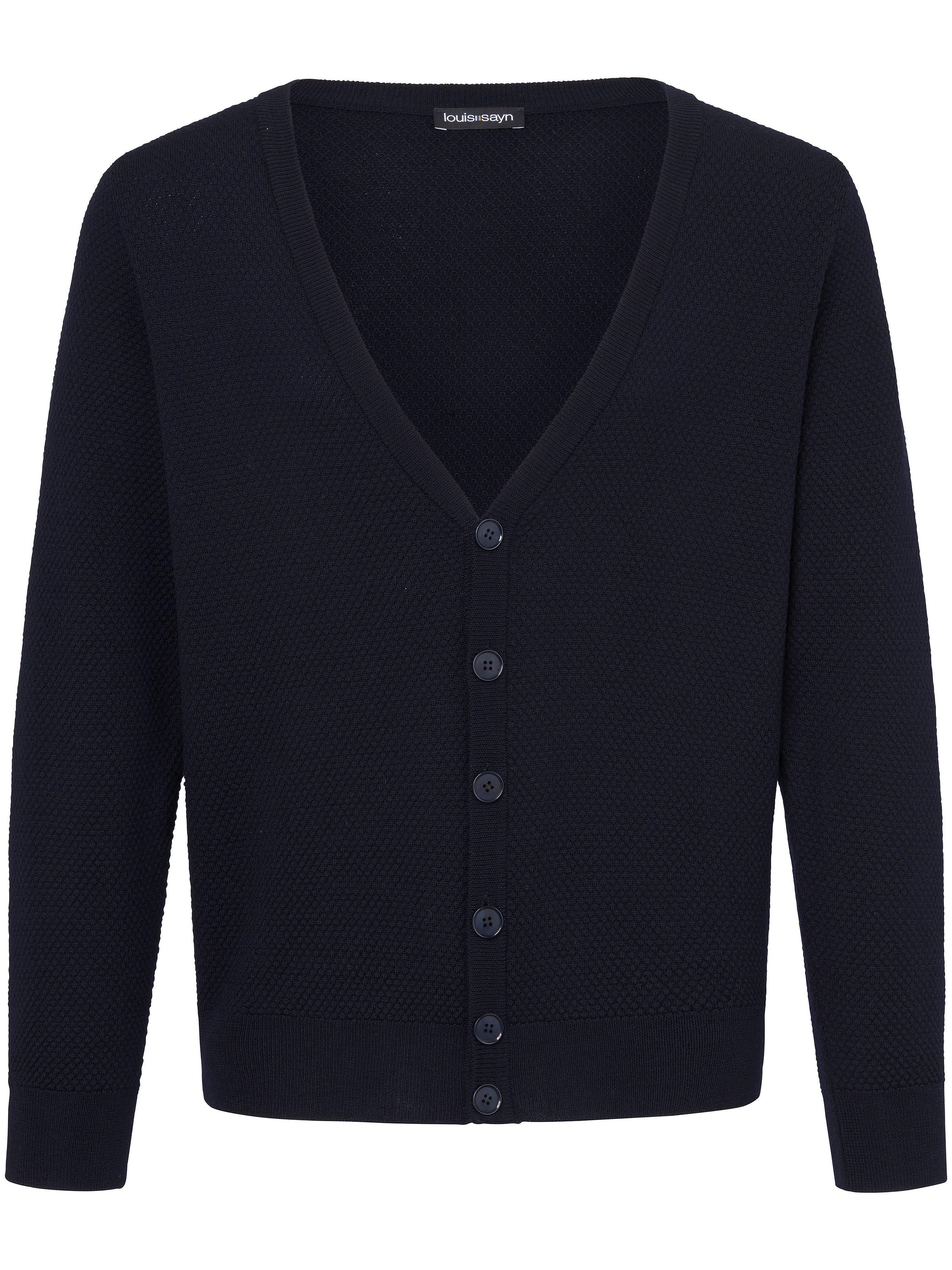 Vest 100% scheerwol V-hals Van Louis Sayn blauw
