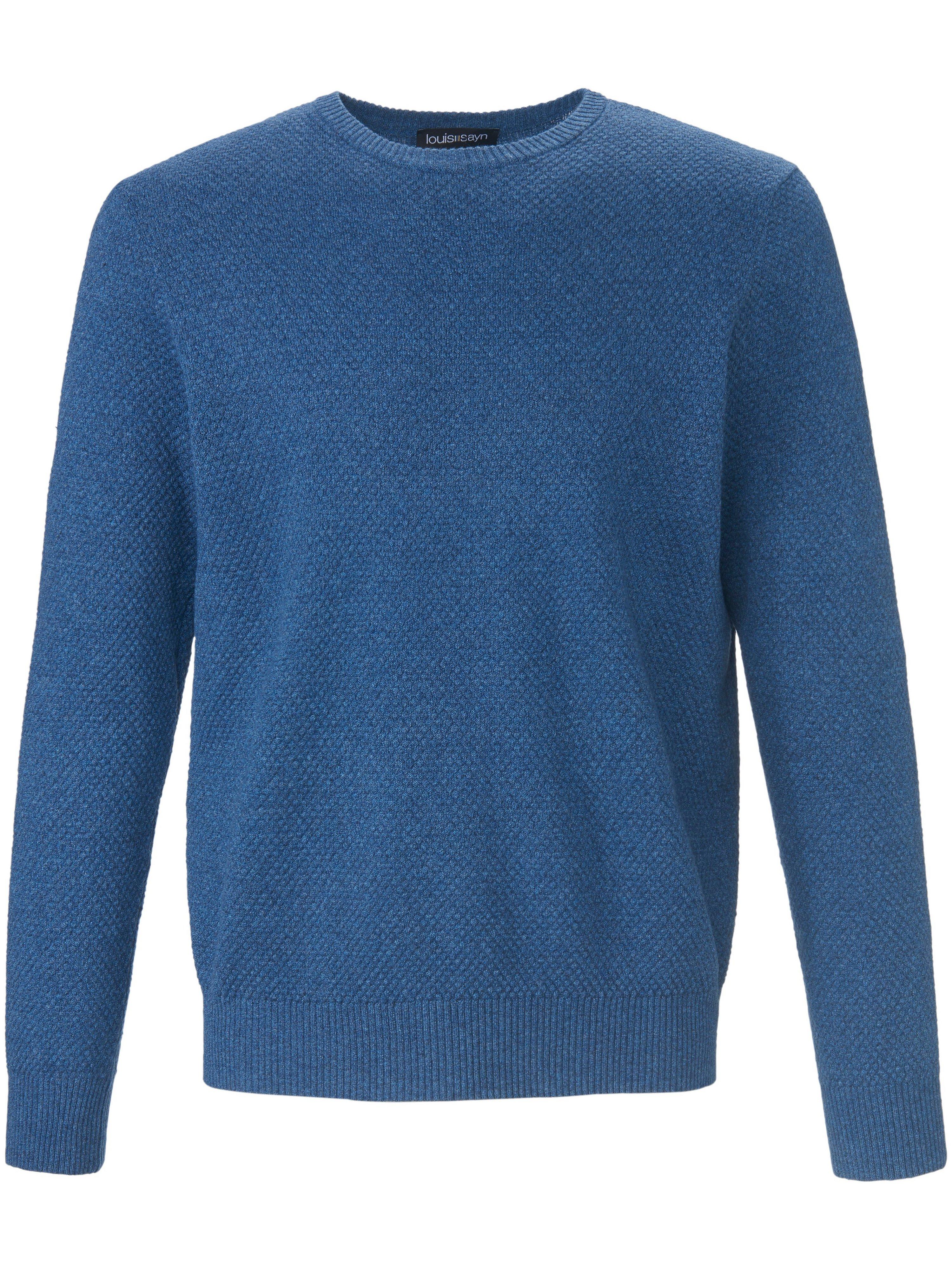 Le pull ras-de-cou décontracté 100% coton  Louis Sayn bleu taille 48