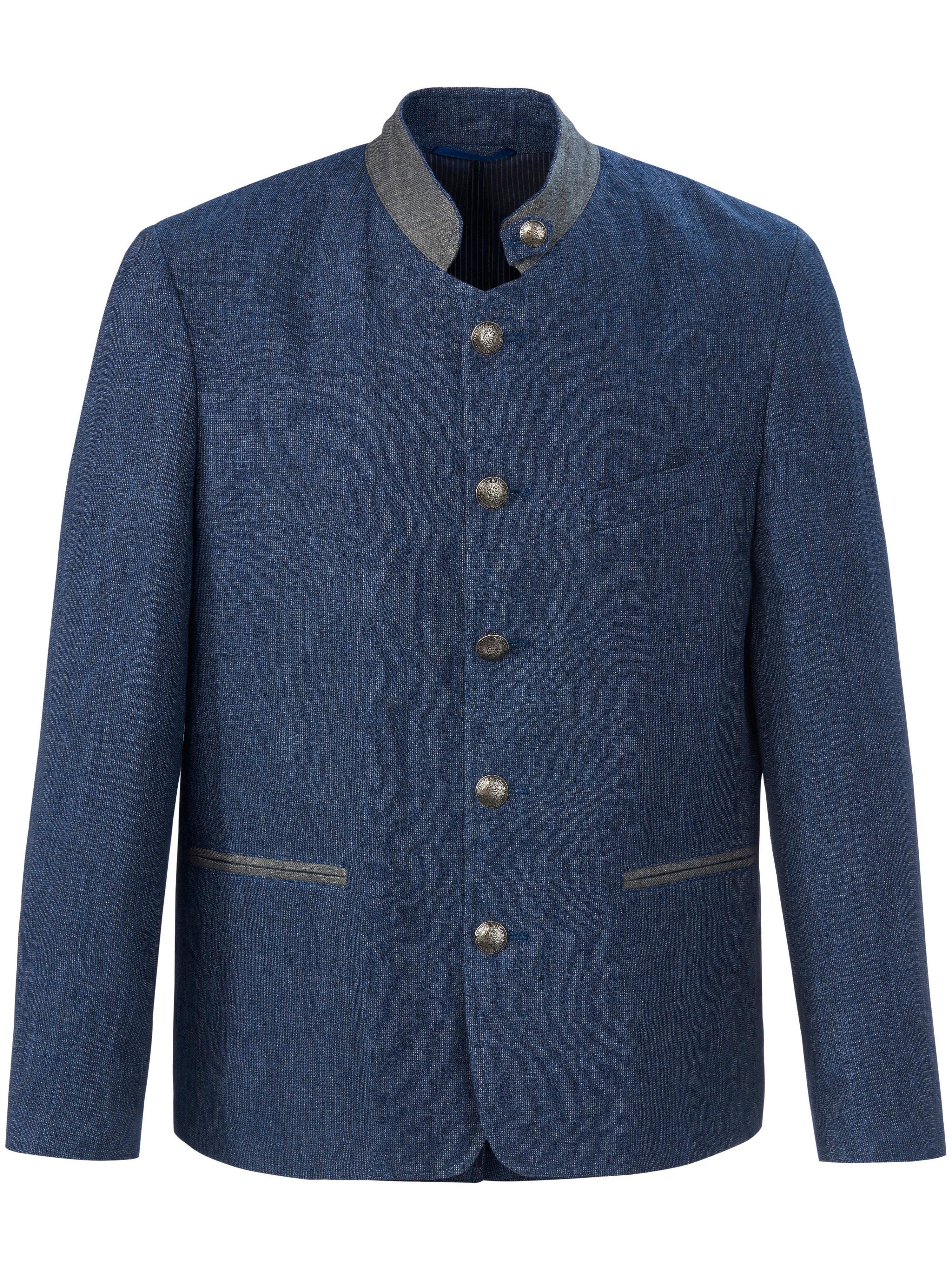 Folklorejasje 100% linnen Van Lodenfrey blauw
