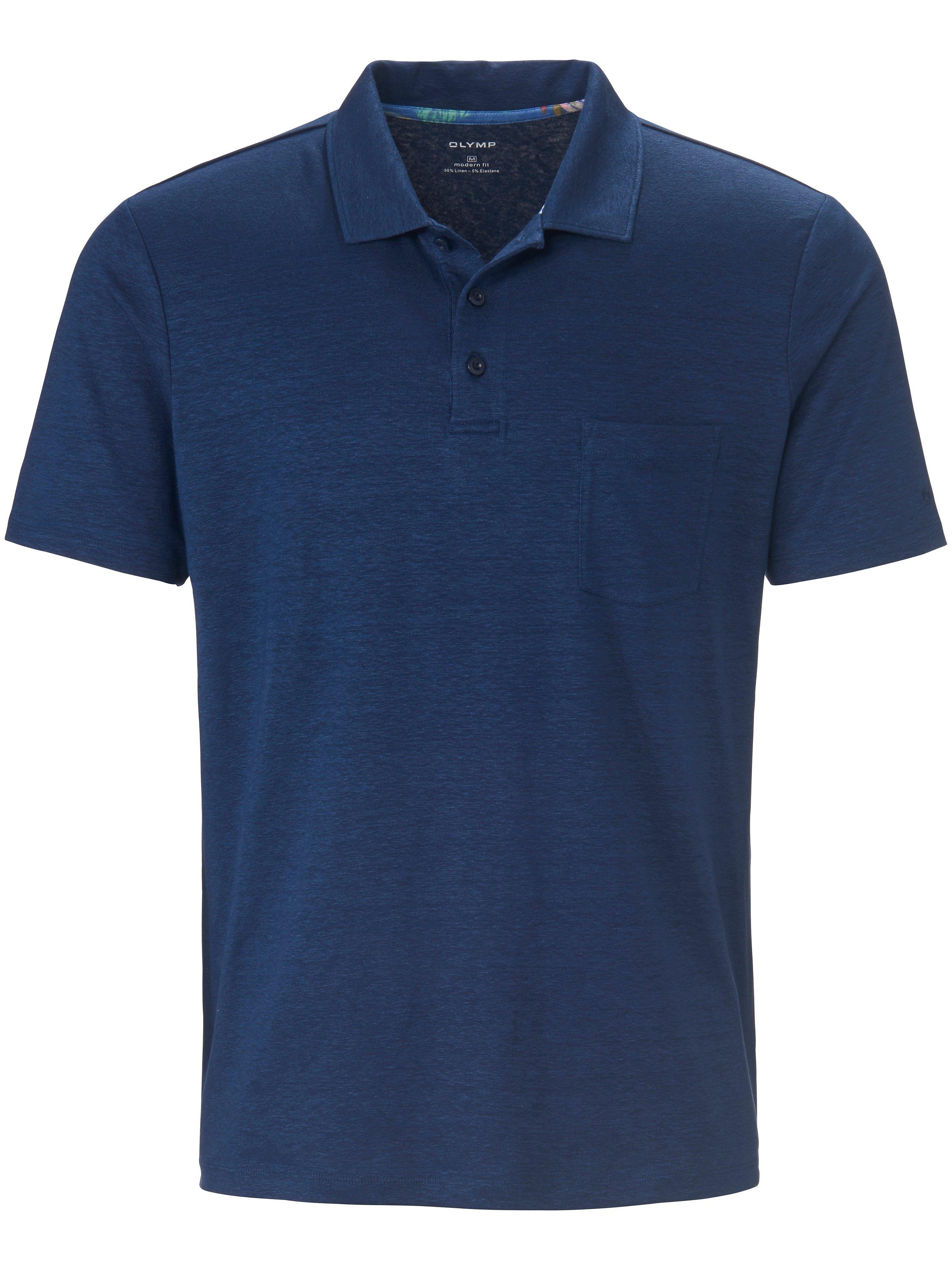 Poloshirt korte mouwen en borstzak Van Olymp blauw
