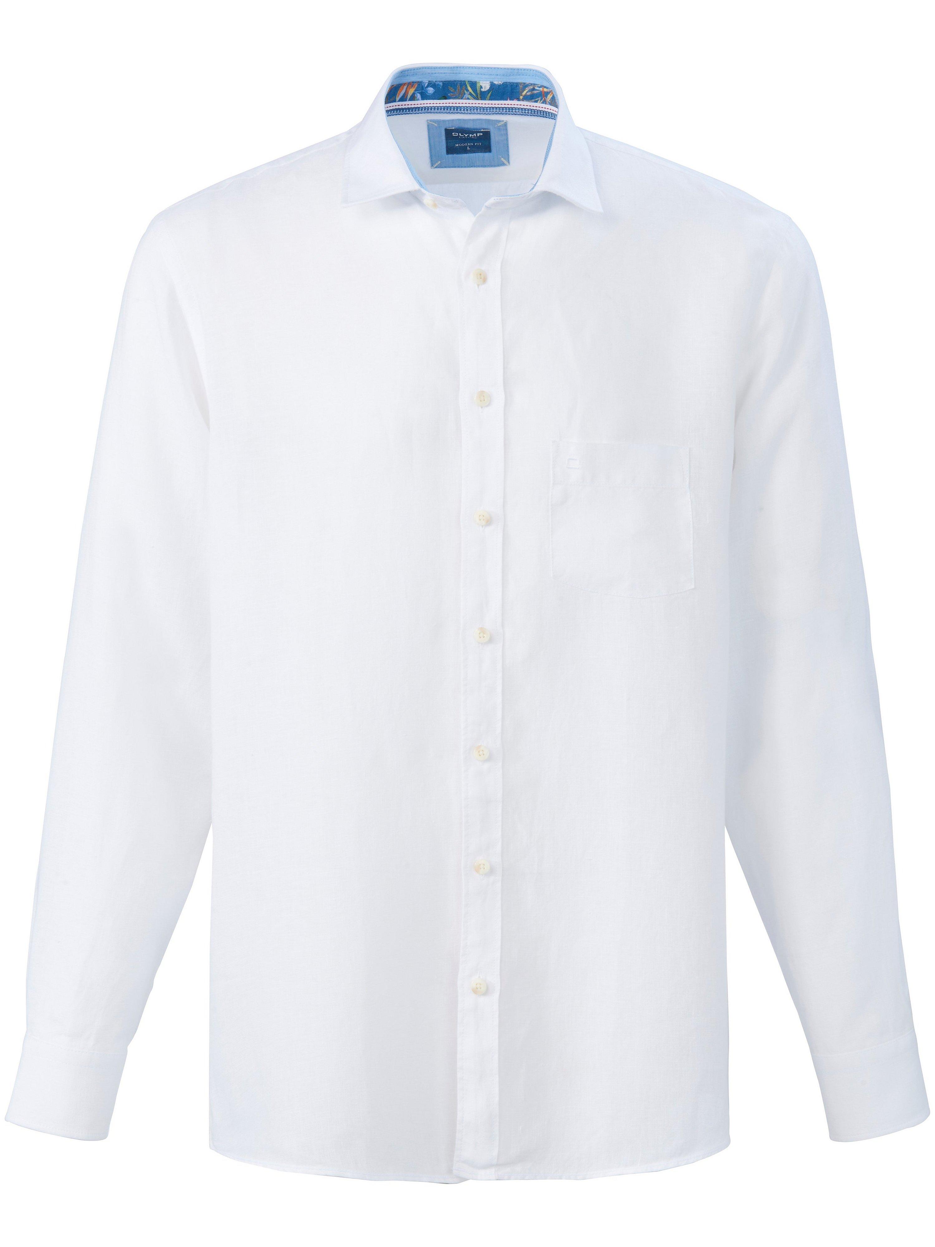 Overhemd 100% linnen kentkraag Van Olymp wit