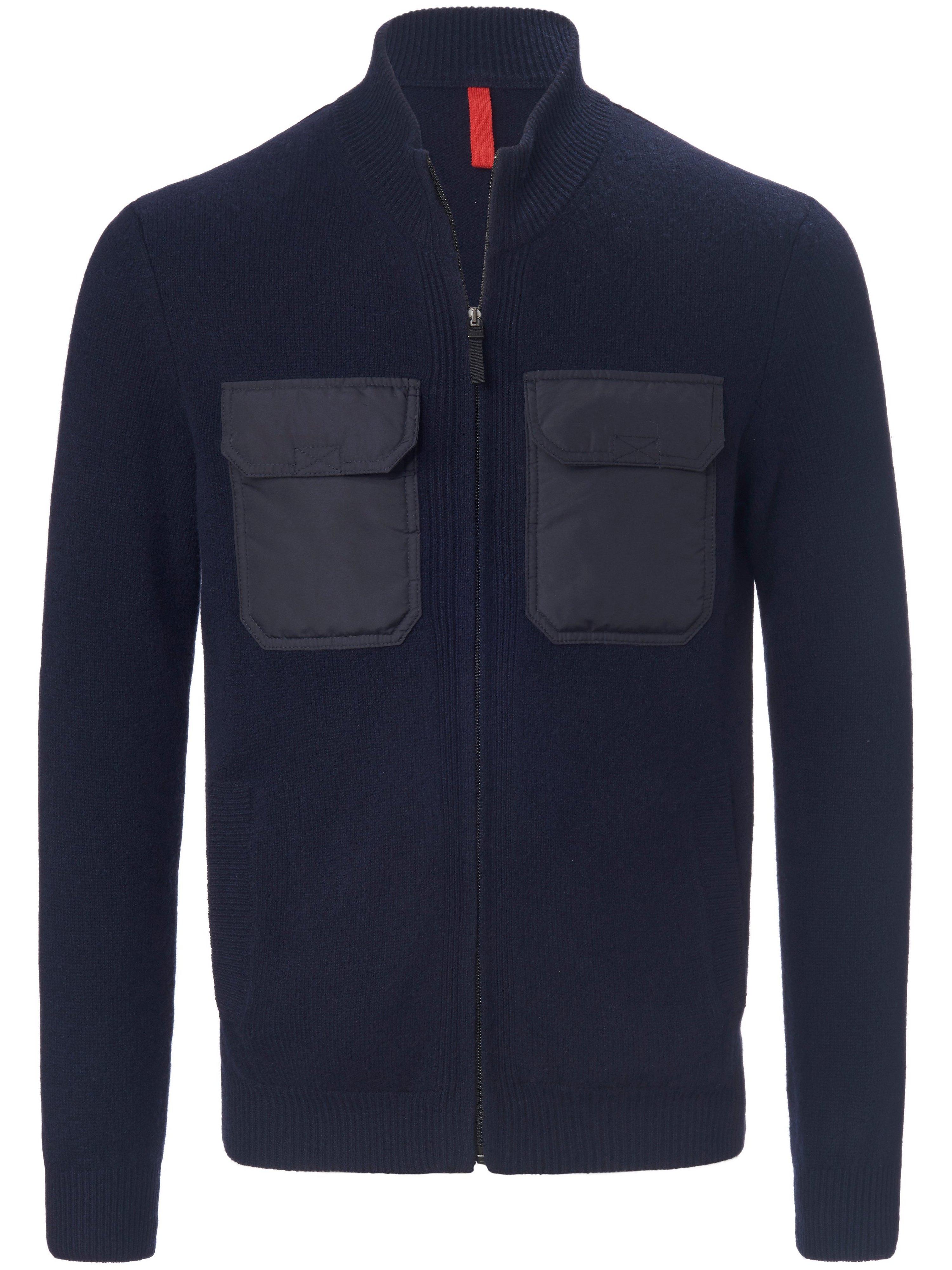 Vest 100% scheerwol staande halsboord Van MAERZ Muenchen blauw
