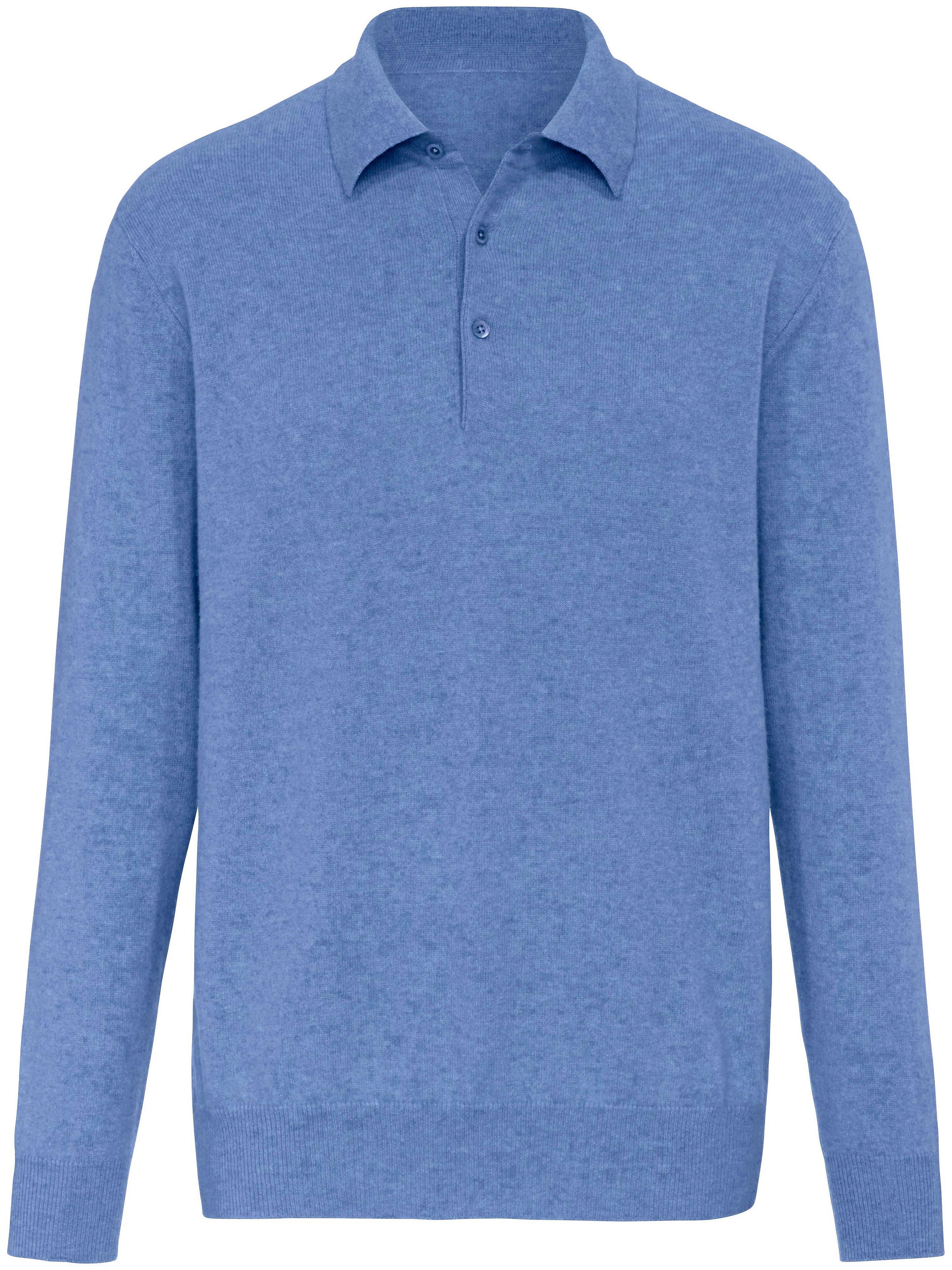 Polotrui 100% kasjmier kleine knopenlijst Van Peter Hahn Cashmere blauw