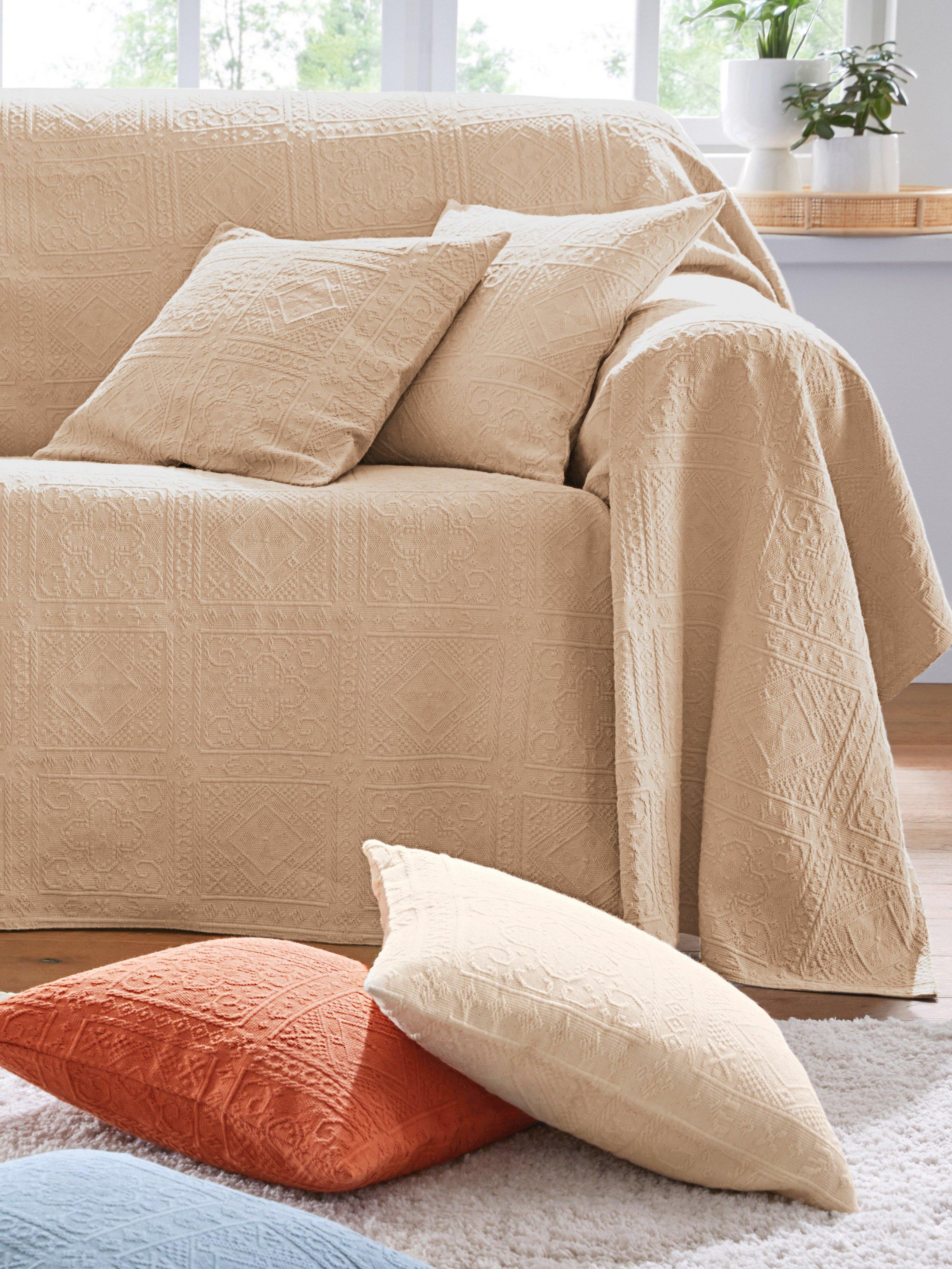 Foulard voor fauteuil en 1-persoonsbed ca.160x190 Van Peter Hahn beige