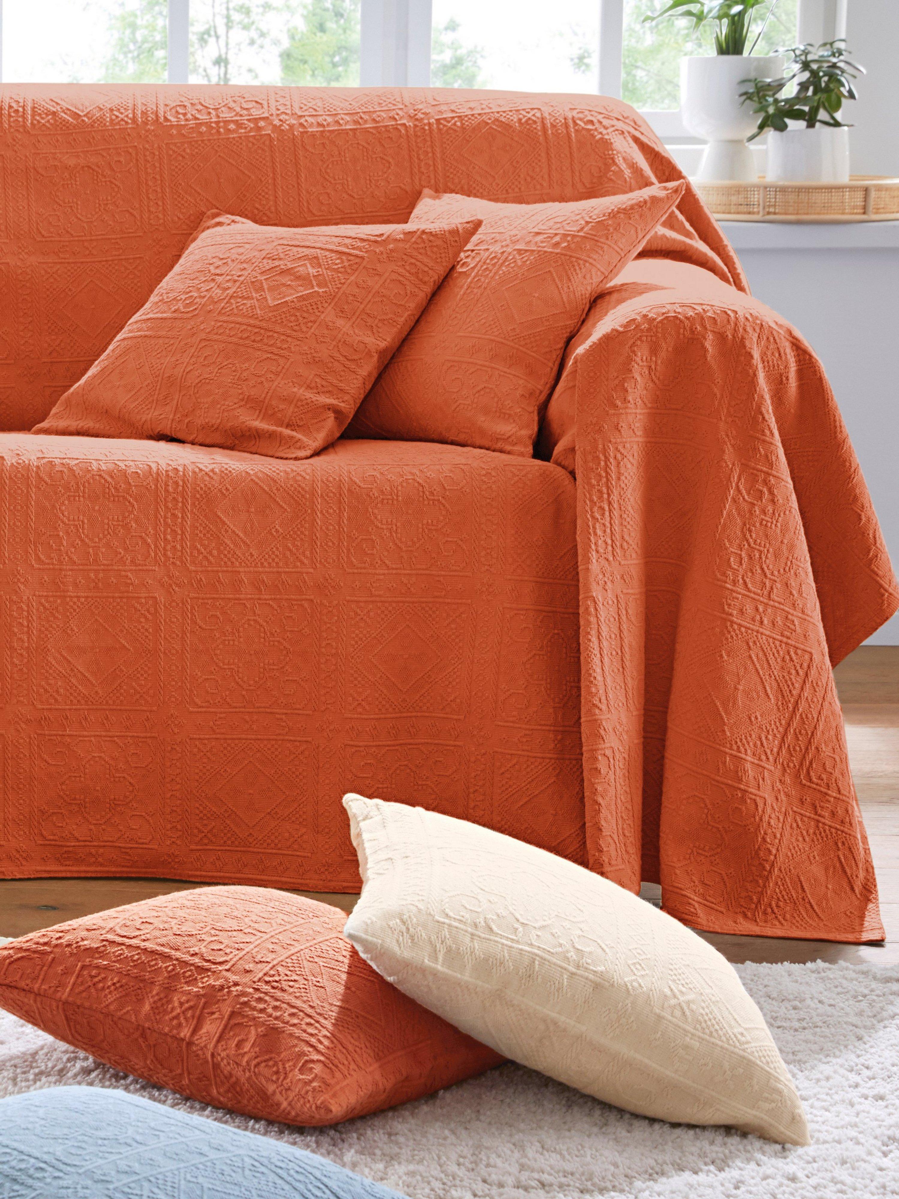 Foulard voor fauteuil en 1-persoonsbed ca.160x190 Van Peter Hahn oranje