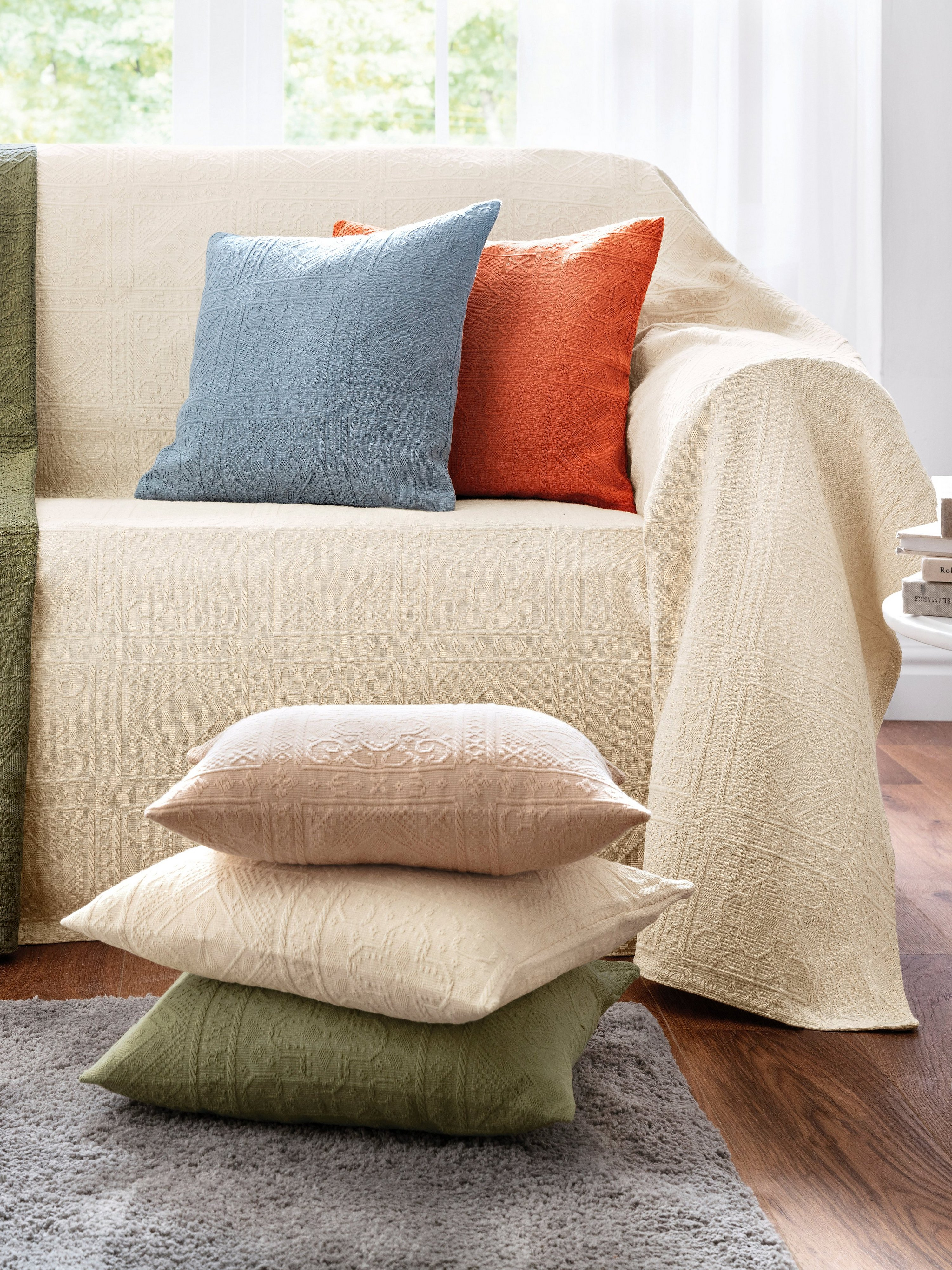 Foulard voor bank en bed ca. 160x270 cm Van Peter Hahn groen