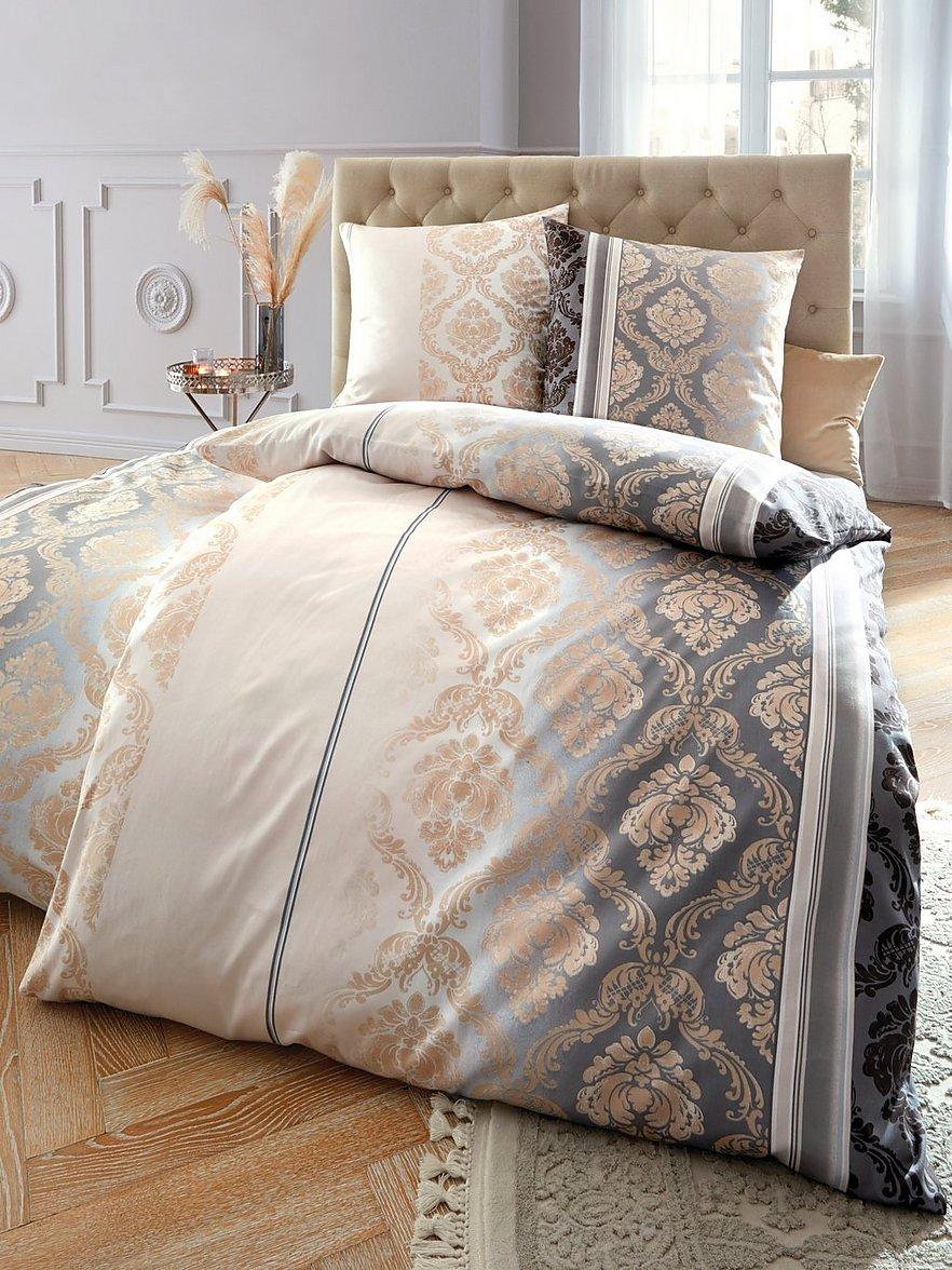 4 teilige Bettwäsche 155x220 cm Kariert weiß grau beige Baumwolle 2 Garnituren