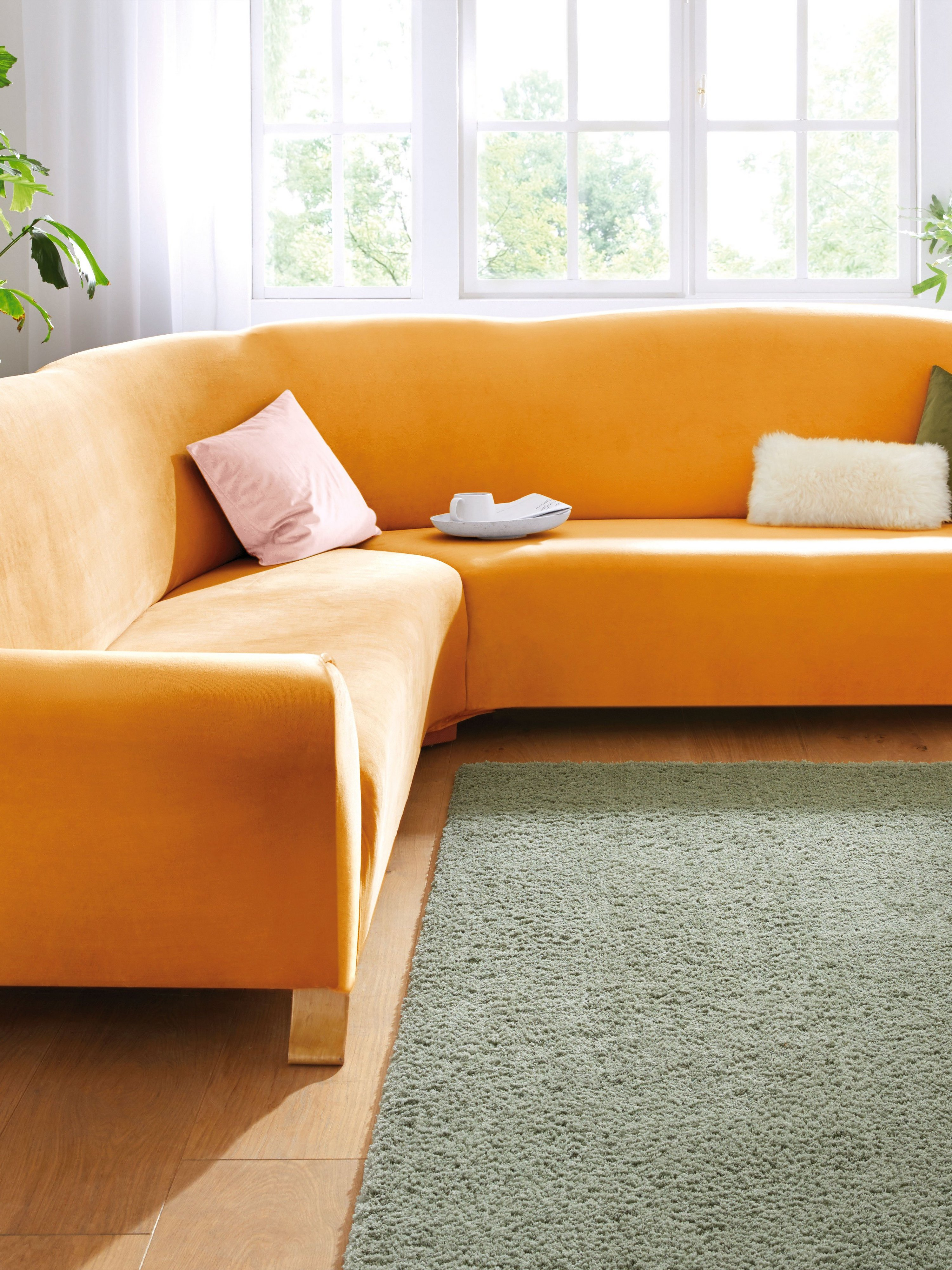 Hoes voor hoekbank ca. 80-85x80-85x380x420cm (hxb) Van Peter Hahn geel