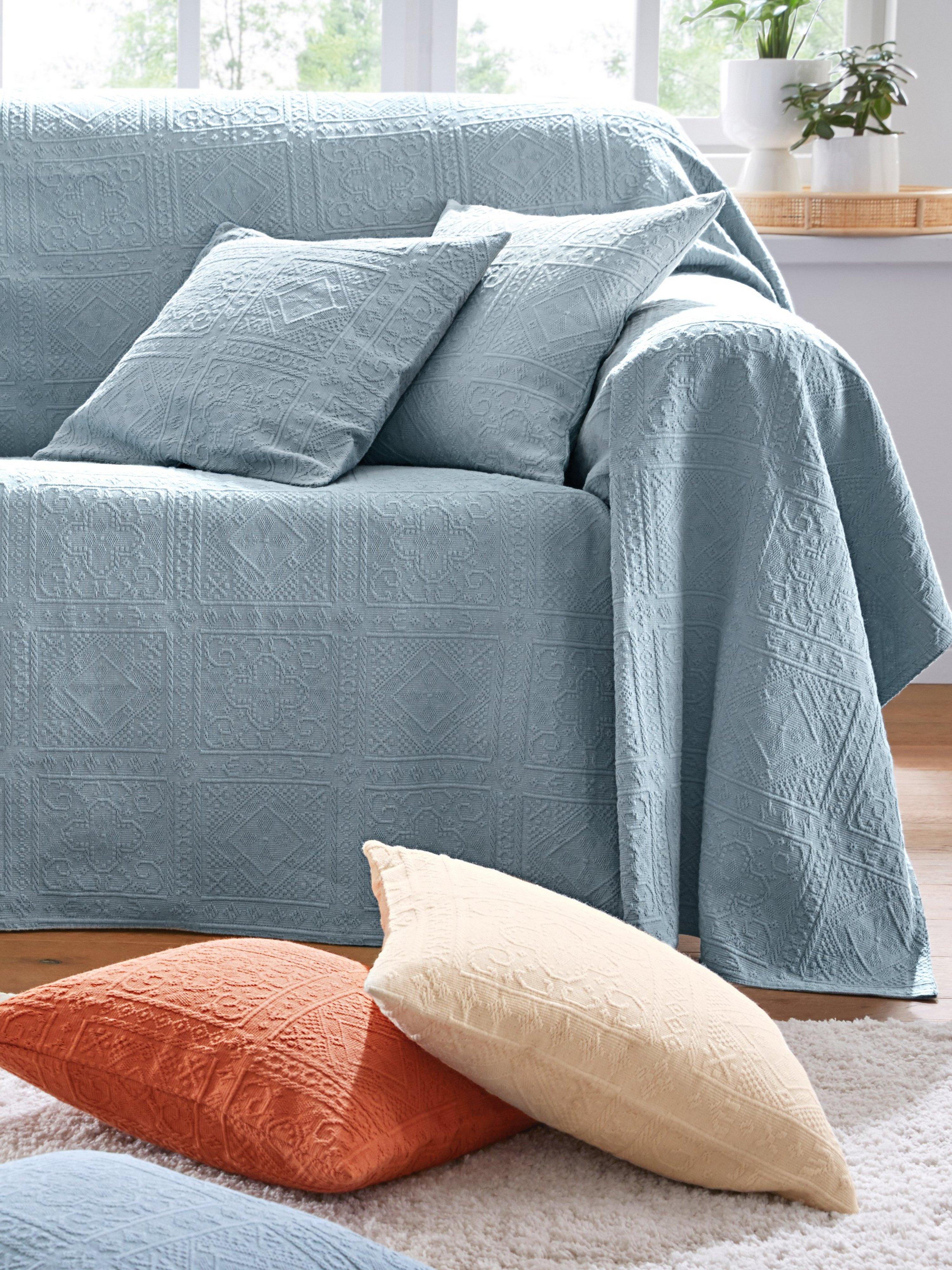 Foulard voor fauteuil en 1-persoonsbed ca.160x190 Van Peter Hahn blauw