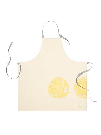 Proflax - Küchenschürze Zitrone, ca. 80x80cm - Weiss-Gelb
