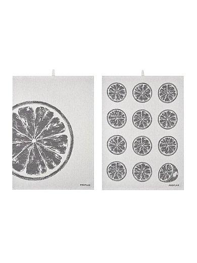 Proflax - Geschirrtuch Zitrone, ca. 50x70cm - Weiss-Grau