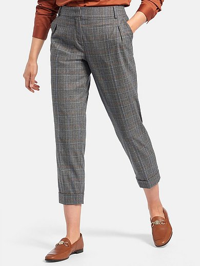 Fadenmeister Berlin - 7/8-length trousers in woven check fabric
