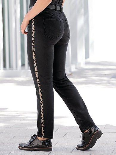 Emilia Lay - Jeans with leopard-print stripe