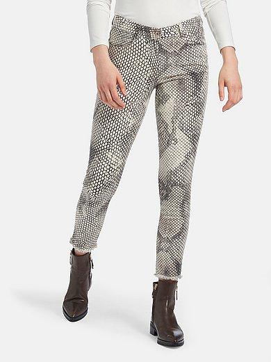 Marc Aurel - Ankellange jeans med slangeskindsprint