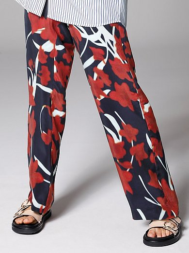 Margittes - Pull-on trousers with floral print