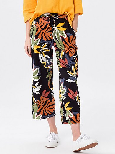 Green Cotton - 7/8-length trousers in 100% cotton with leaf print