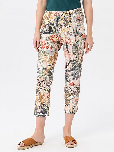 Green Cotton - Trousers in 100% cotton with floral print