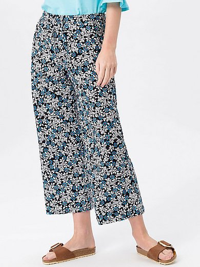 Green Cotton - Trousers in 100% cotton with cornflower print
