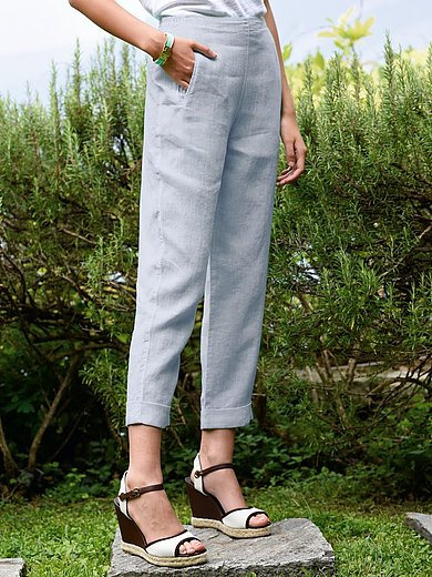 elemente clemente - 7/8-broek van 100% linnen met elastische band