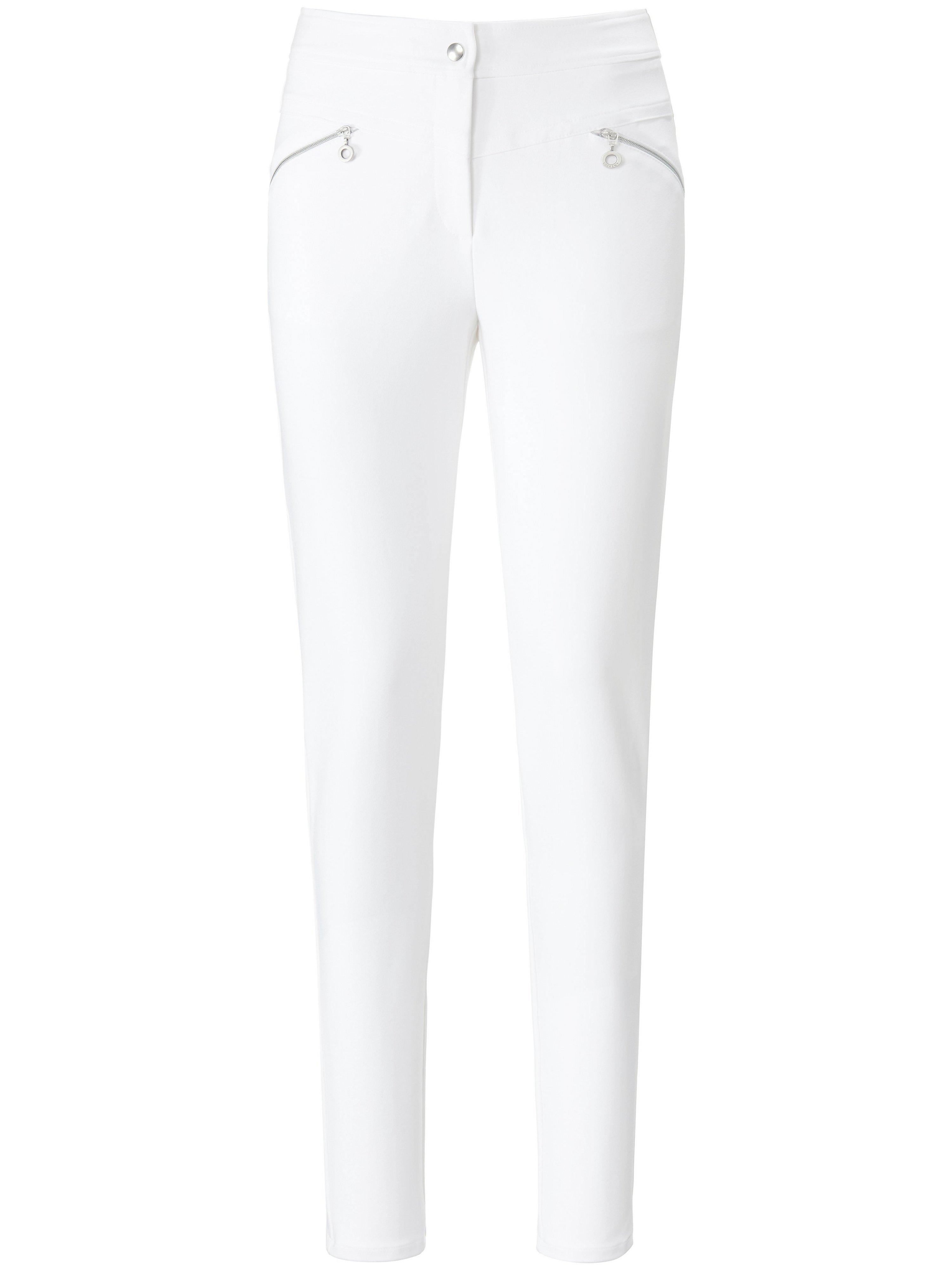 Broek in zeer smal model schuine ritszakken Van Looxent wit