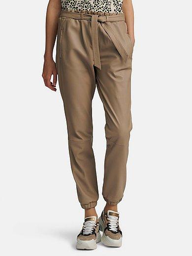 oui - Le pantalon en cuir à taille élastiquée