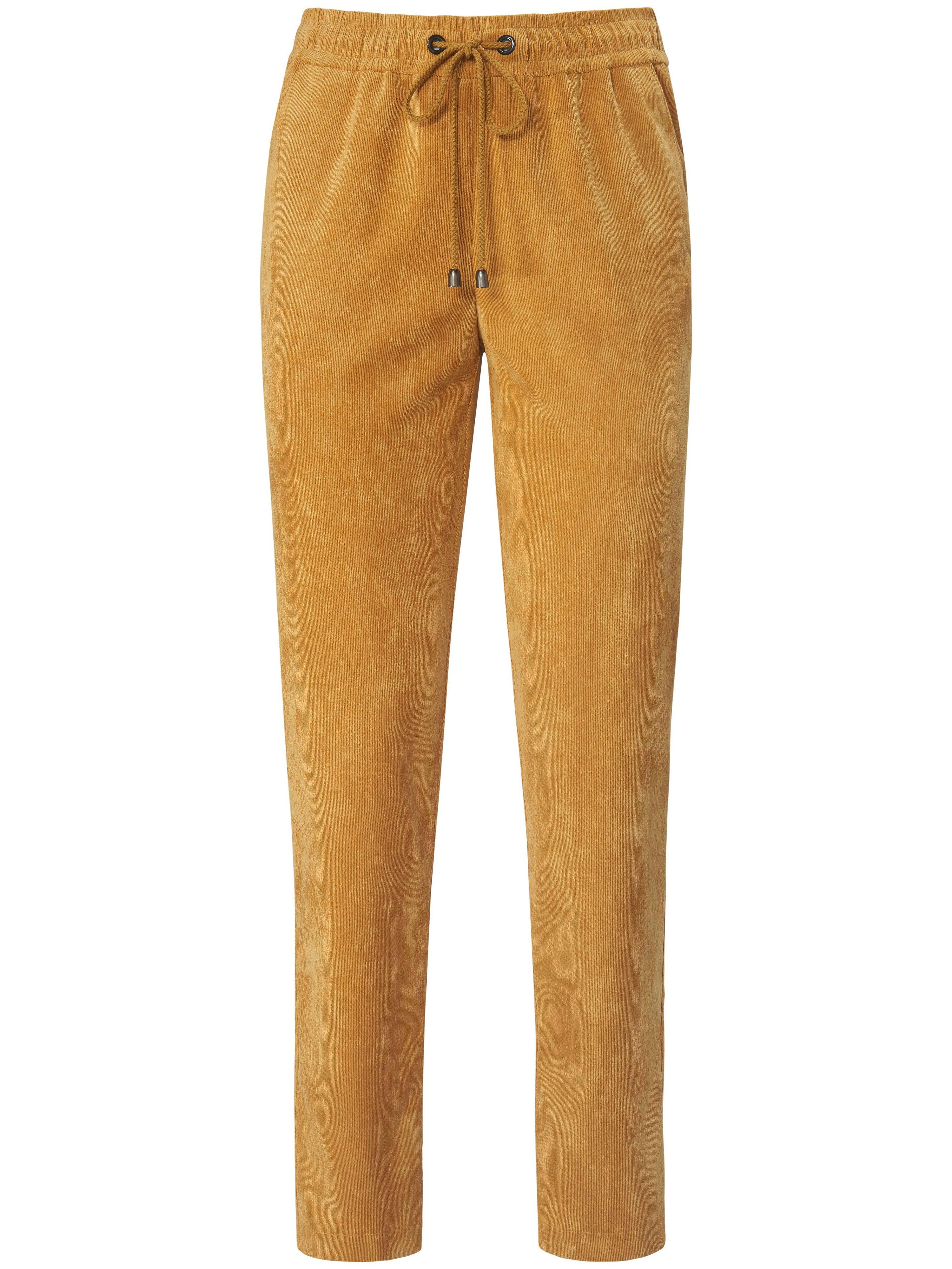 Enkellange fijncord broek pasvorm Barbara Van Peter Hahn geel