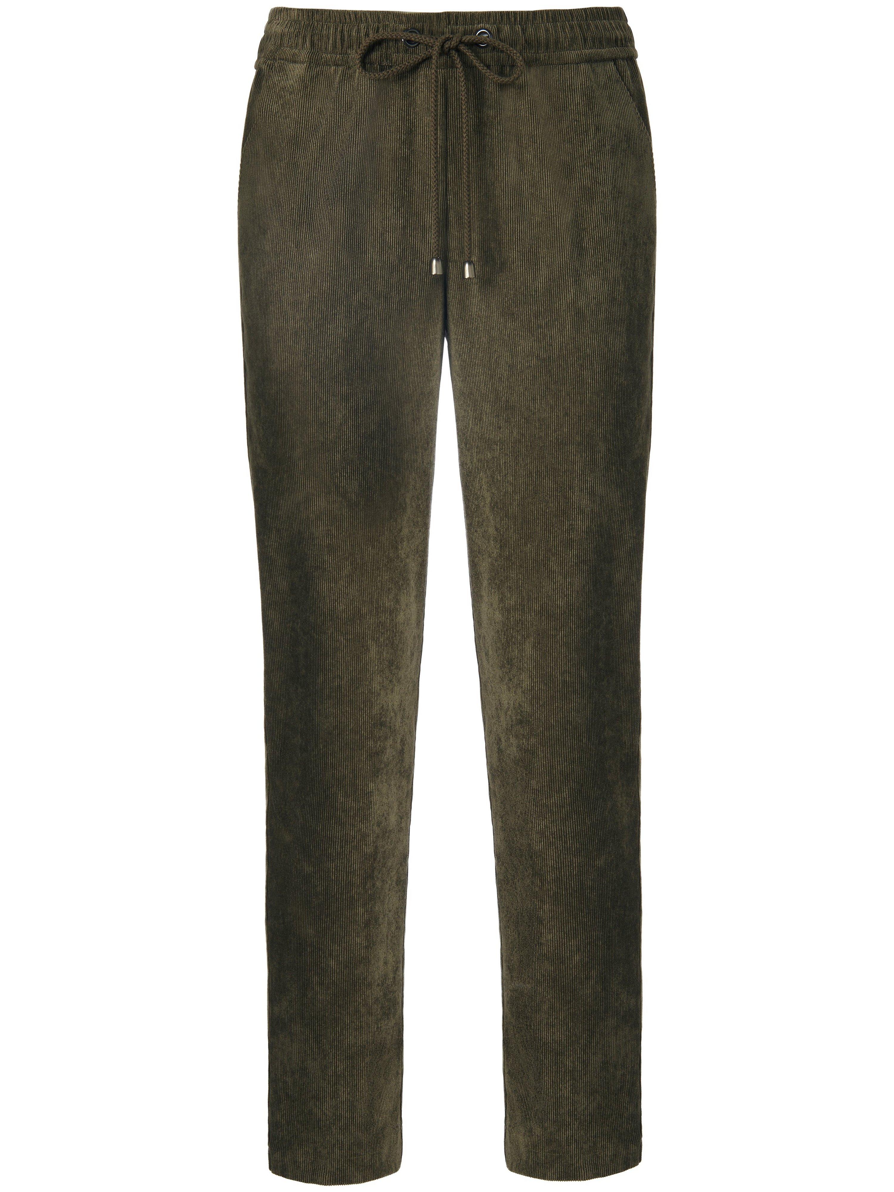 Enkellange fijncord broek pasvorm Barbara Van Peter Hahn groen