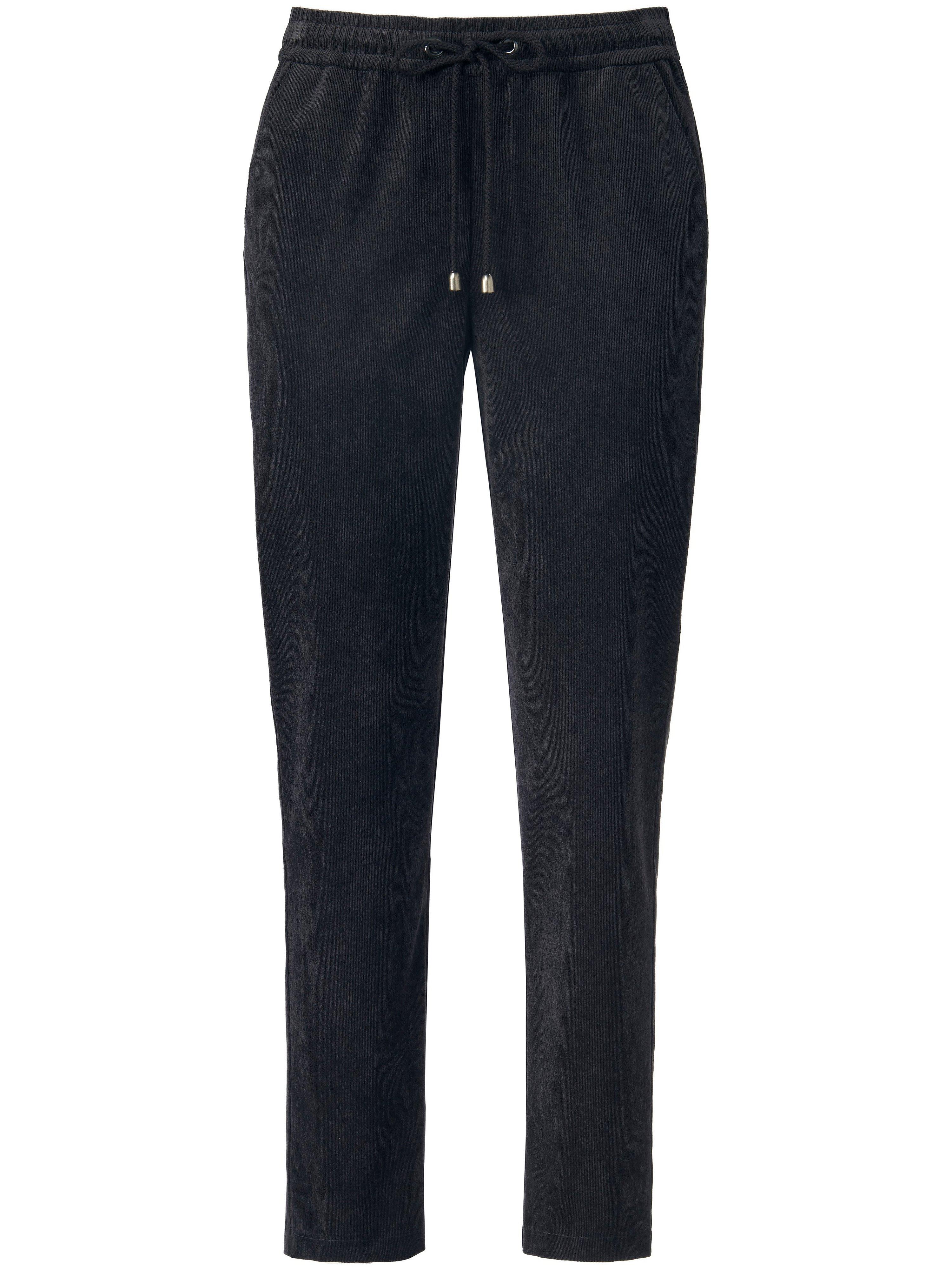 Enkellange fijncord broek pasvorm Barbara Van Peter Hahn zwart