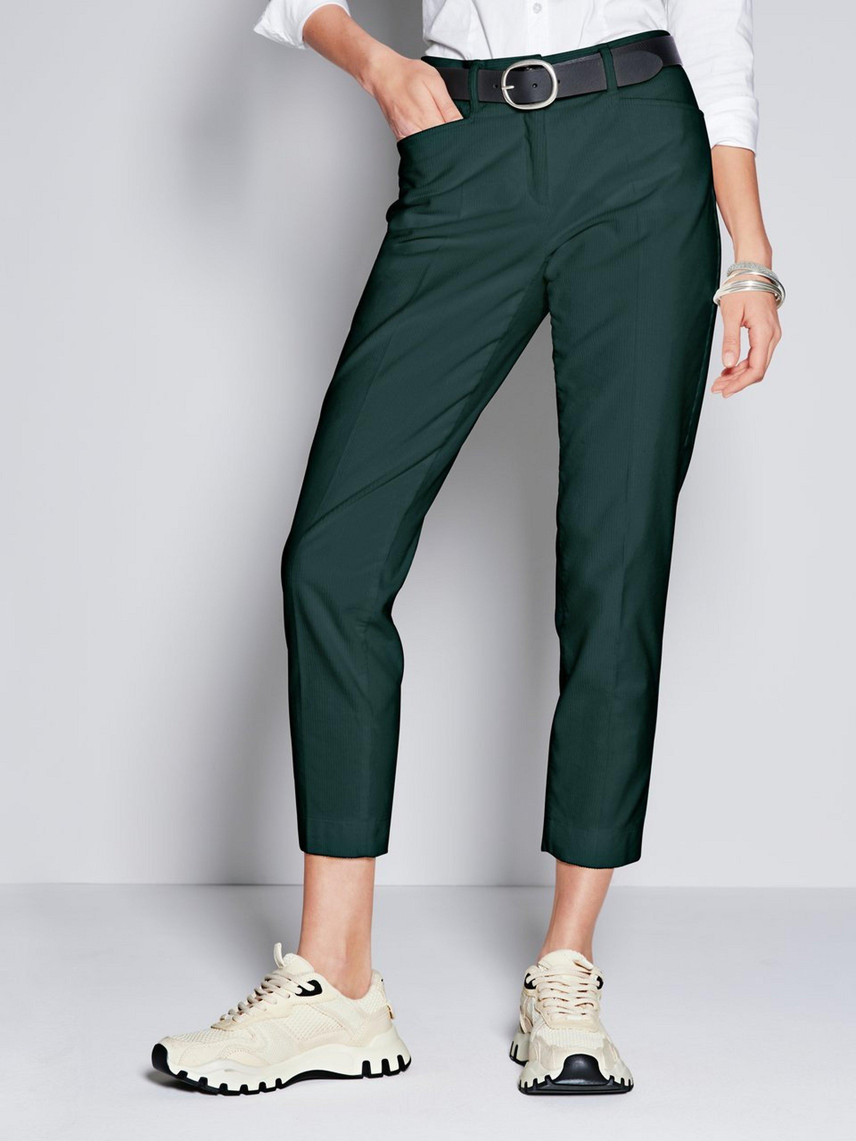 Slim Fit-7/8-breedribcordbroek model Mara S Van Brax Feel Good groen