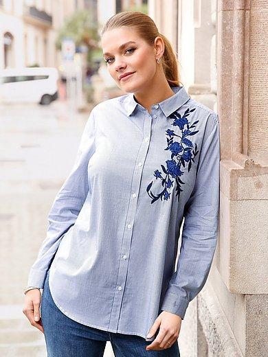 Anna Aura - Bluse mit Hemdkragen und Blütenstickerei
