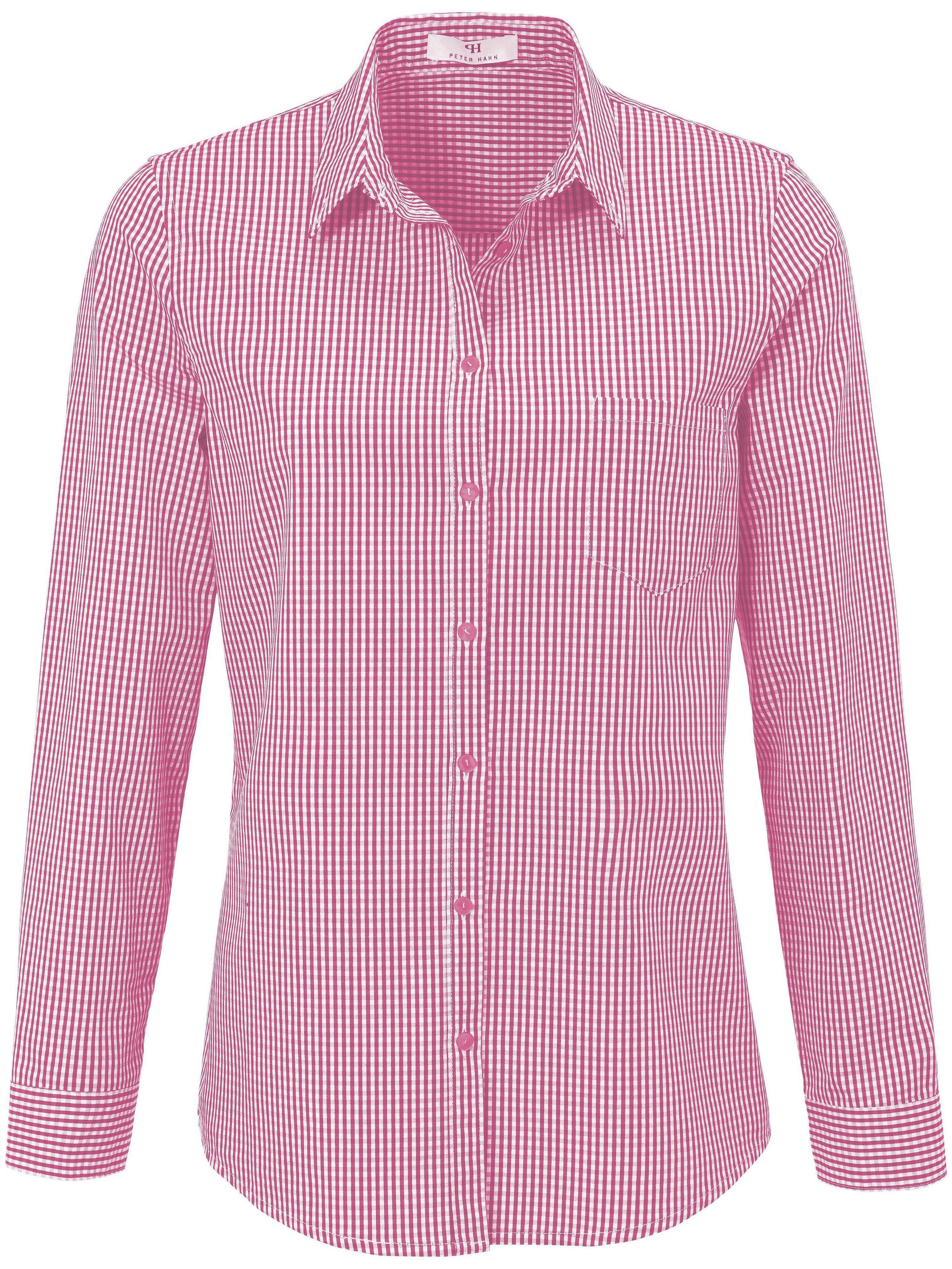 Blouse in overhemdmodel 100% katoen Van Peter Hahn roze