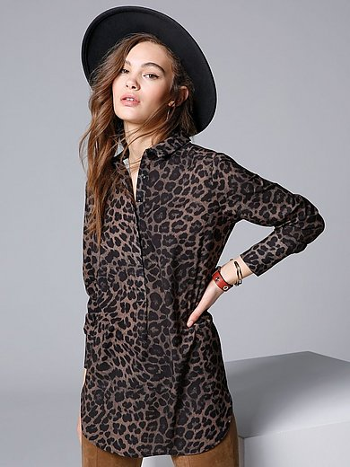 comma, - Tunic with leopard print