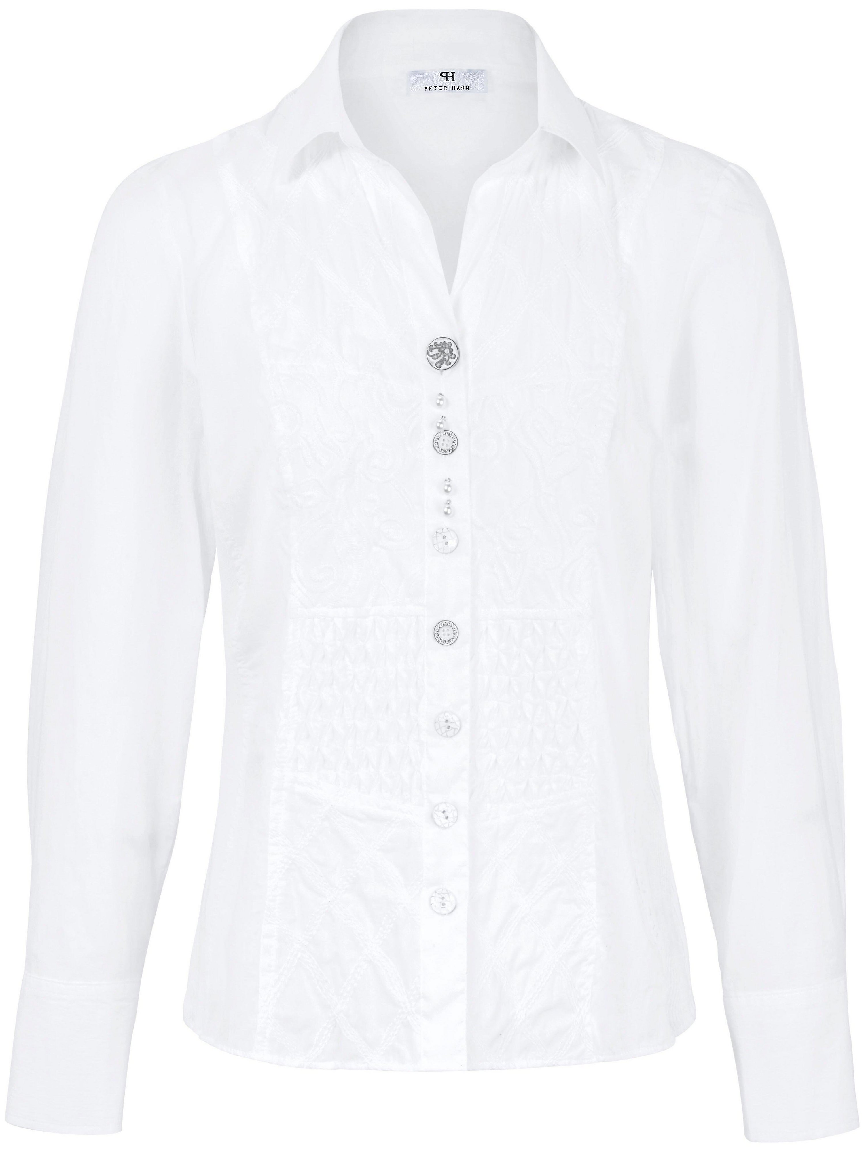 Blouse 100% katoen in overhemdmodel Van Peter Hahn wit