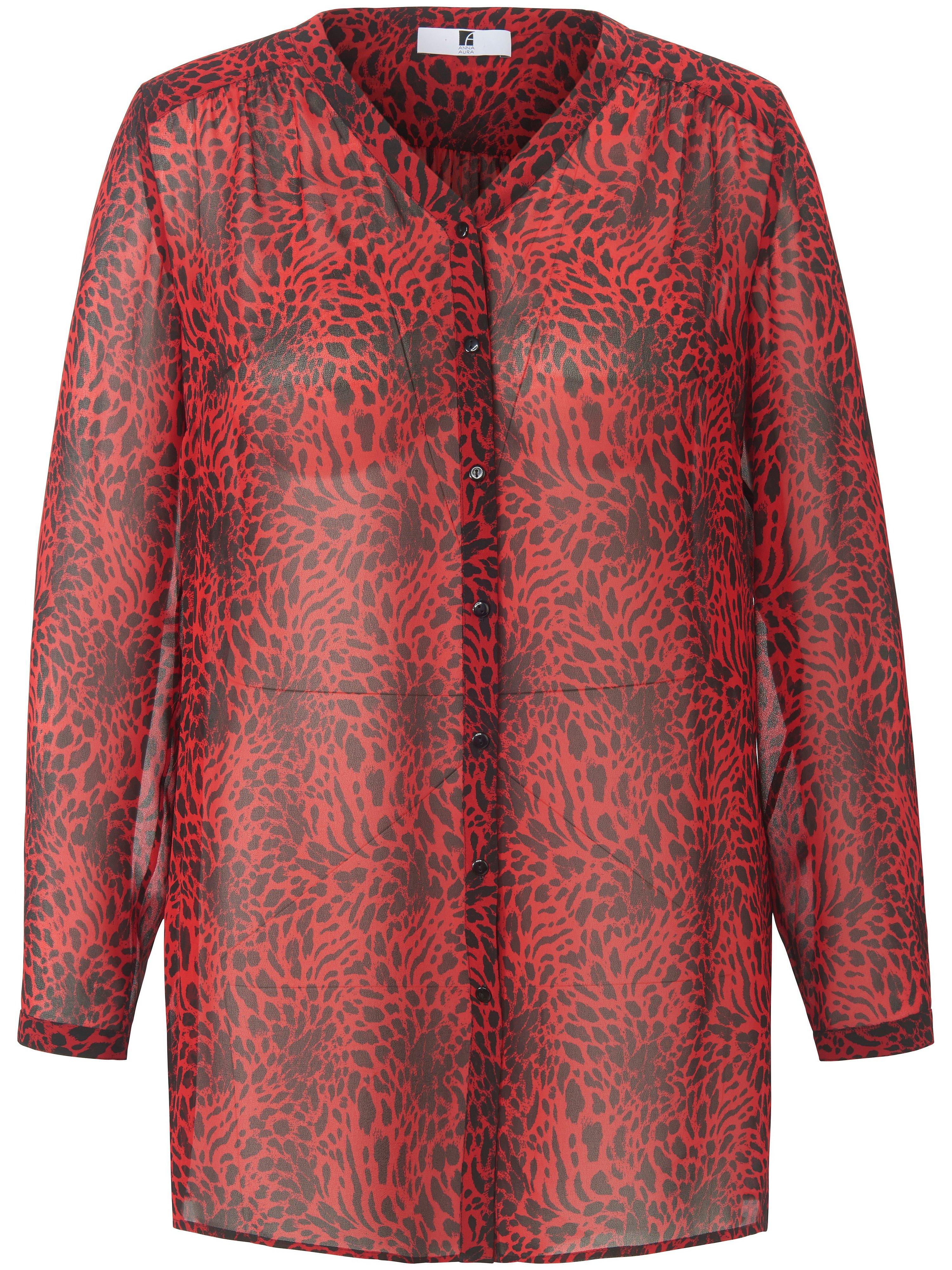 Lange blouse lange mouwen en luipaardprint Van Anna Aura zwart