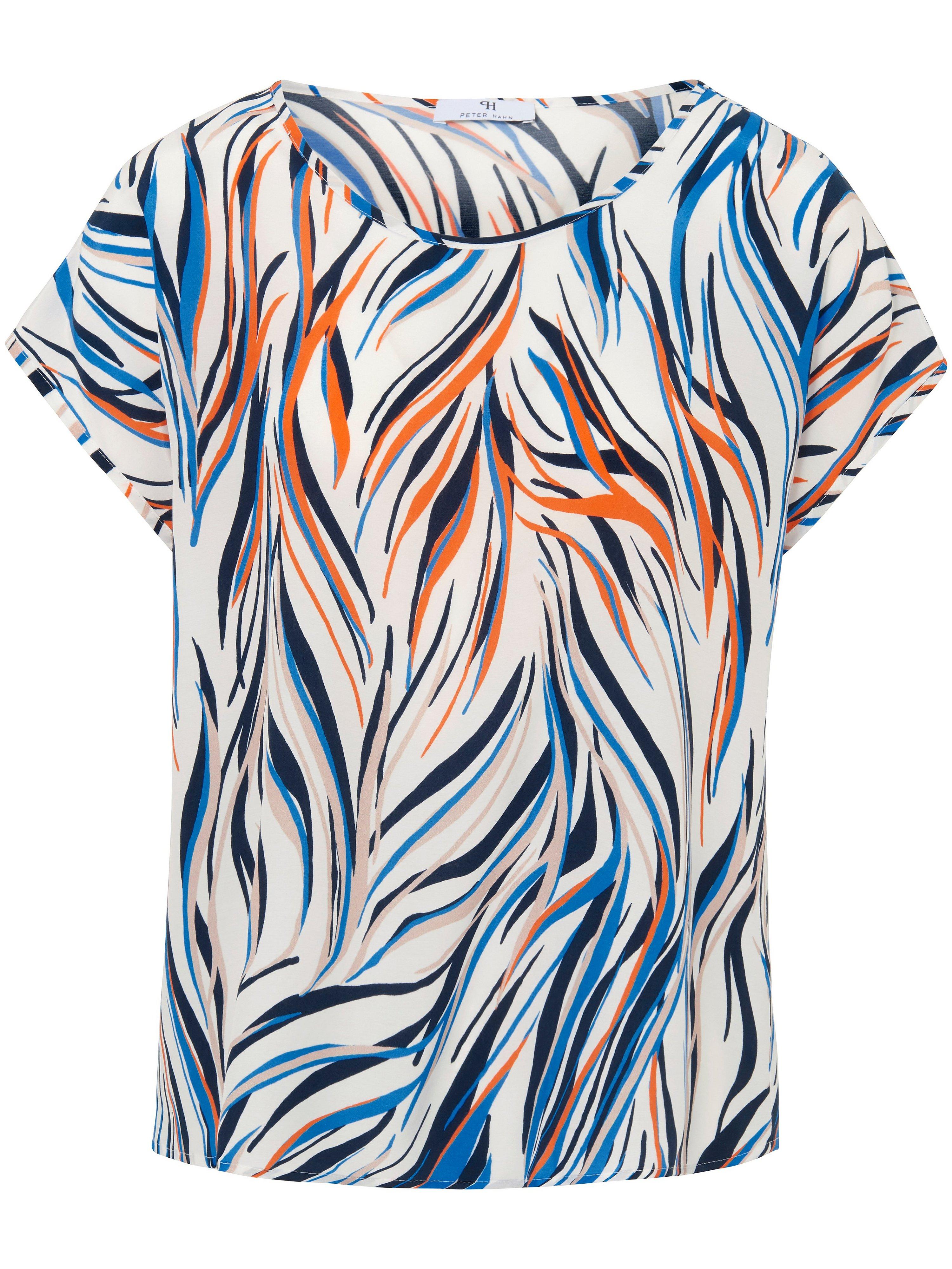 Shirt aangeknipte mouwtjes en zebraprint Van Peter Hahn wit