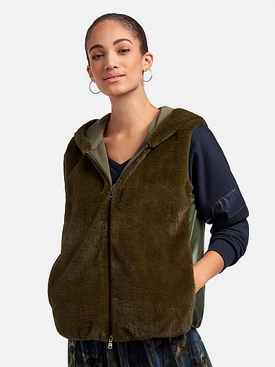 Margittes - Hooded waistcoat with faux fur