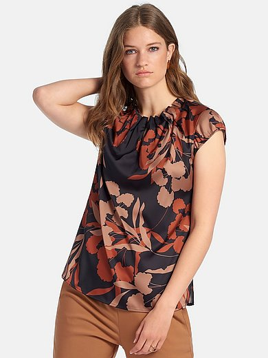 comma, - Blouse with short cap sleeves