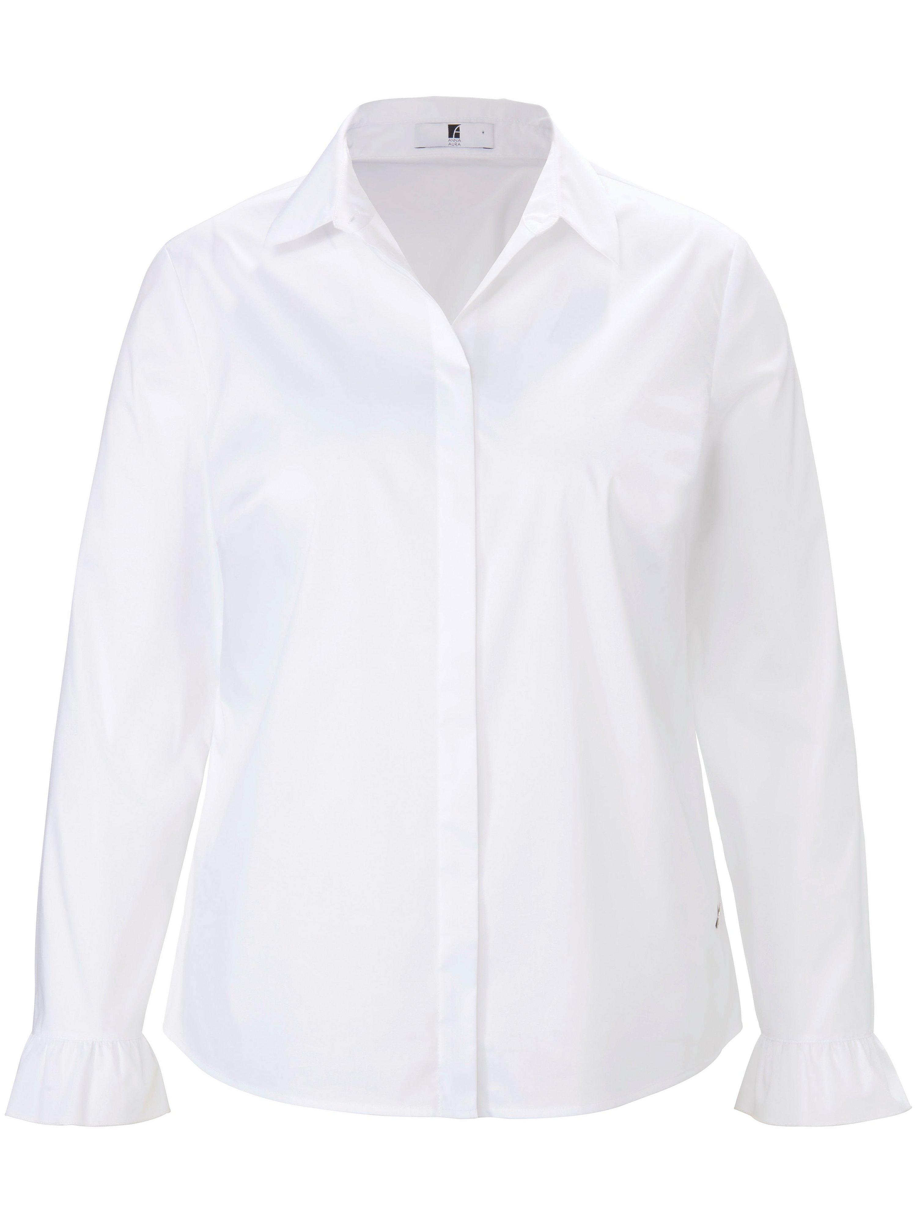 Blouse in overhemdmodel lange mouwen Van Anna Aura wit