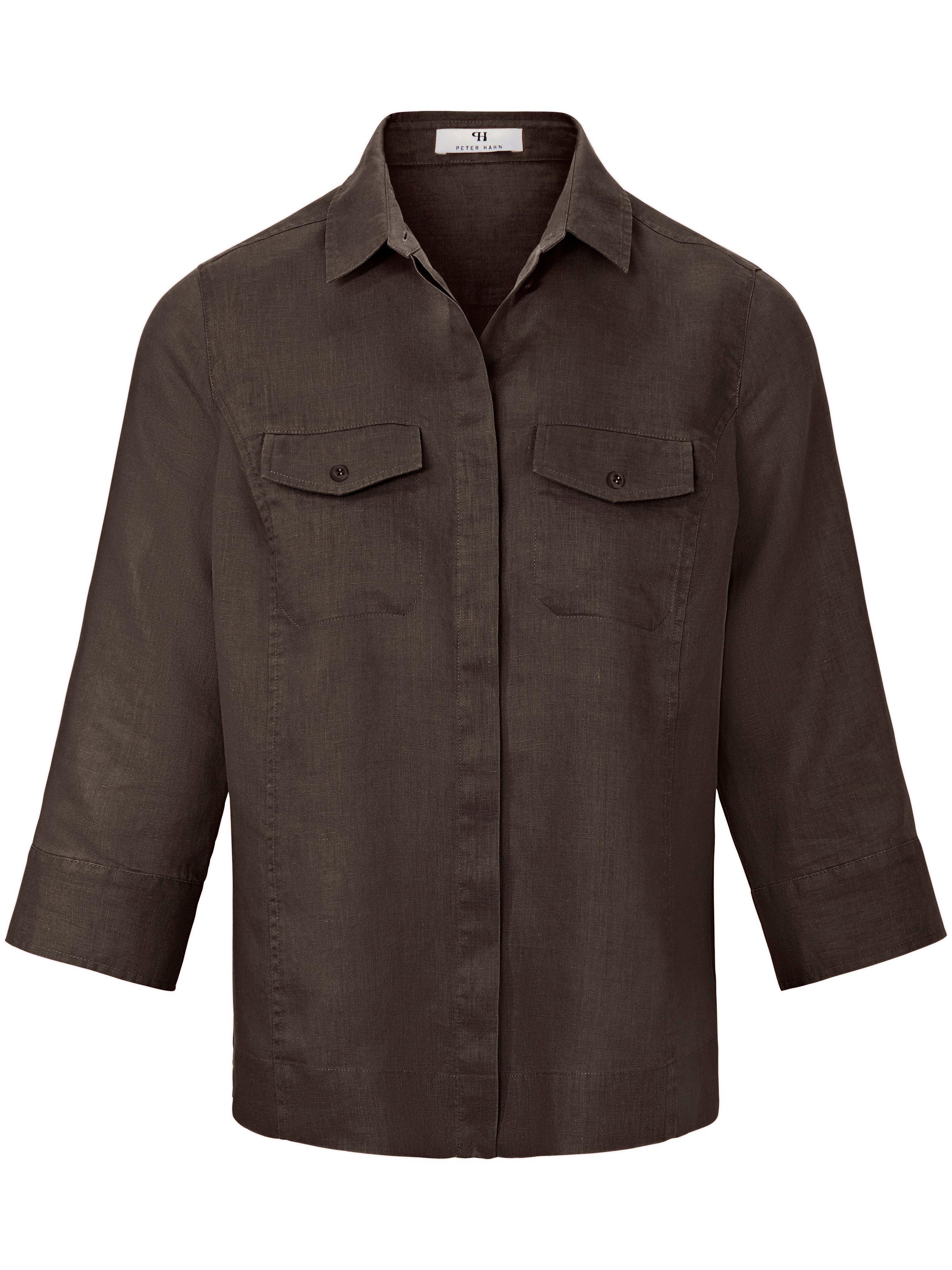 Blouse 100% linnen 3/4-mouwen Van Peter Hahn bruin