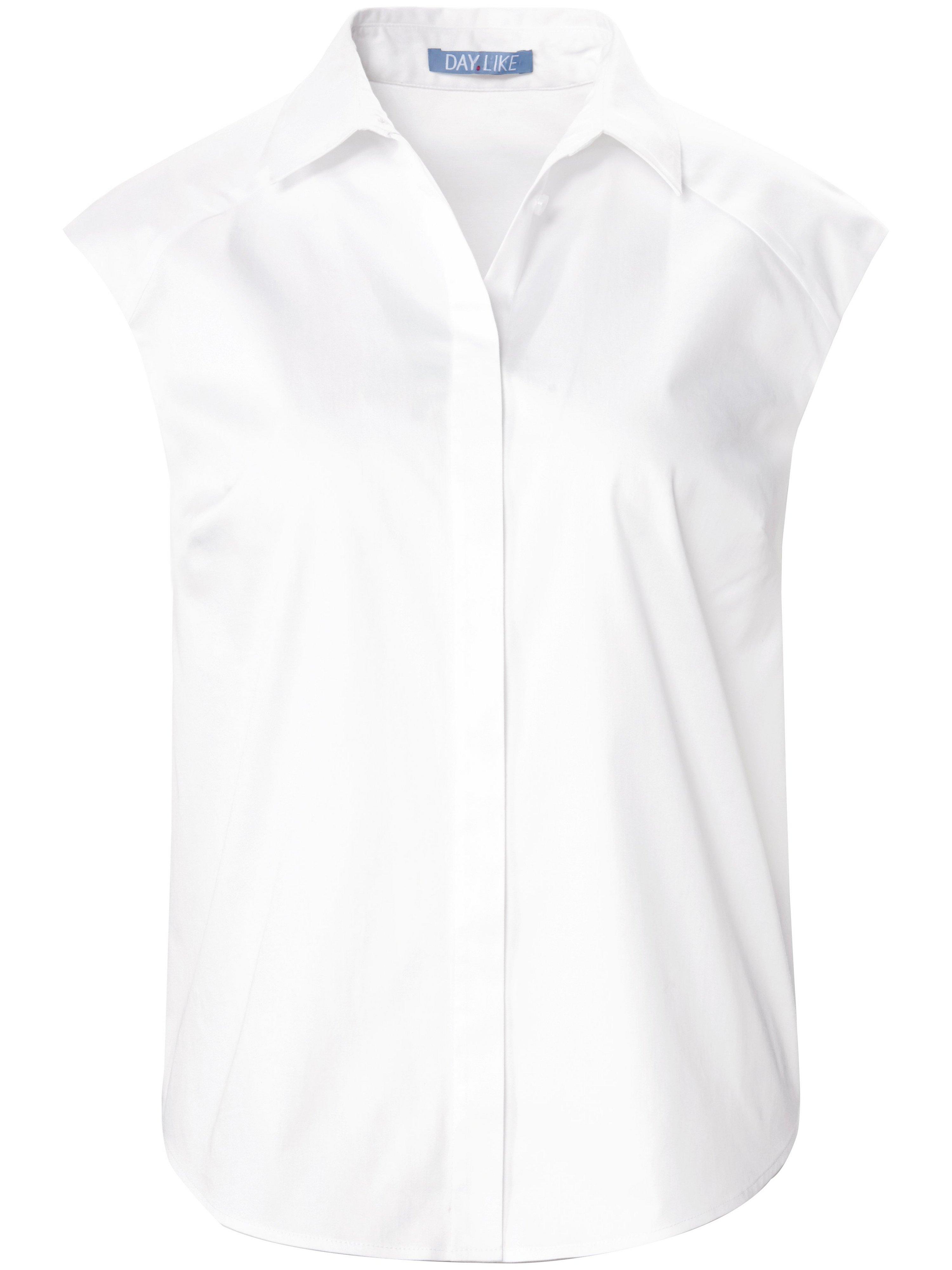 Mouwloze blouse overhemdkraag Van DAY.LIKE wit