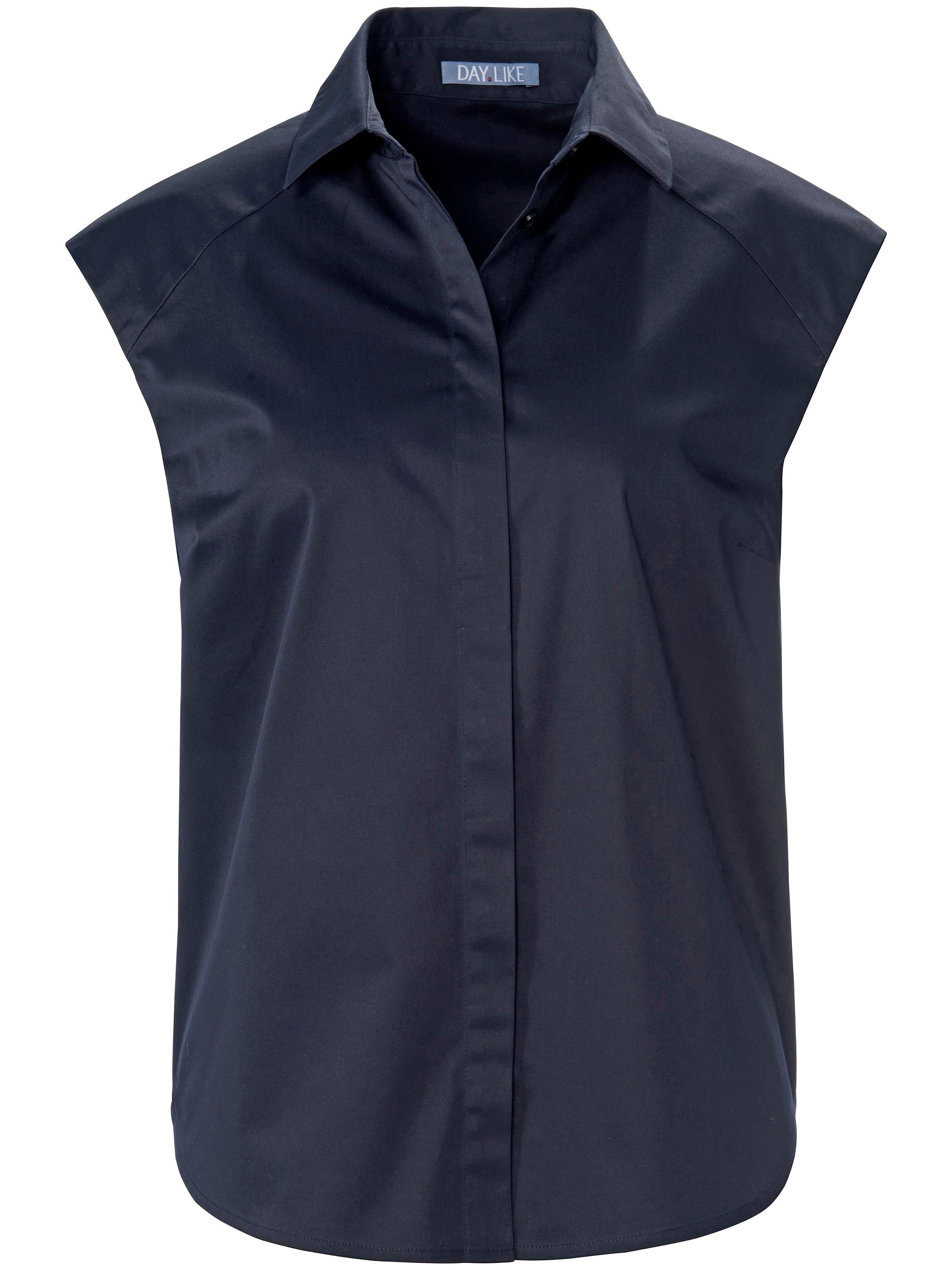 Mouwloze blouse overhemdkraag Van DAY.LIKE blauw