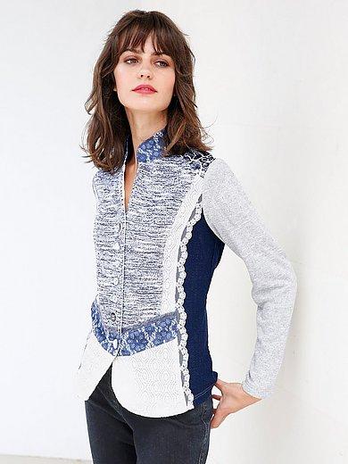 Just White Blusen Jacke BlauWeißSilber