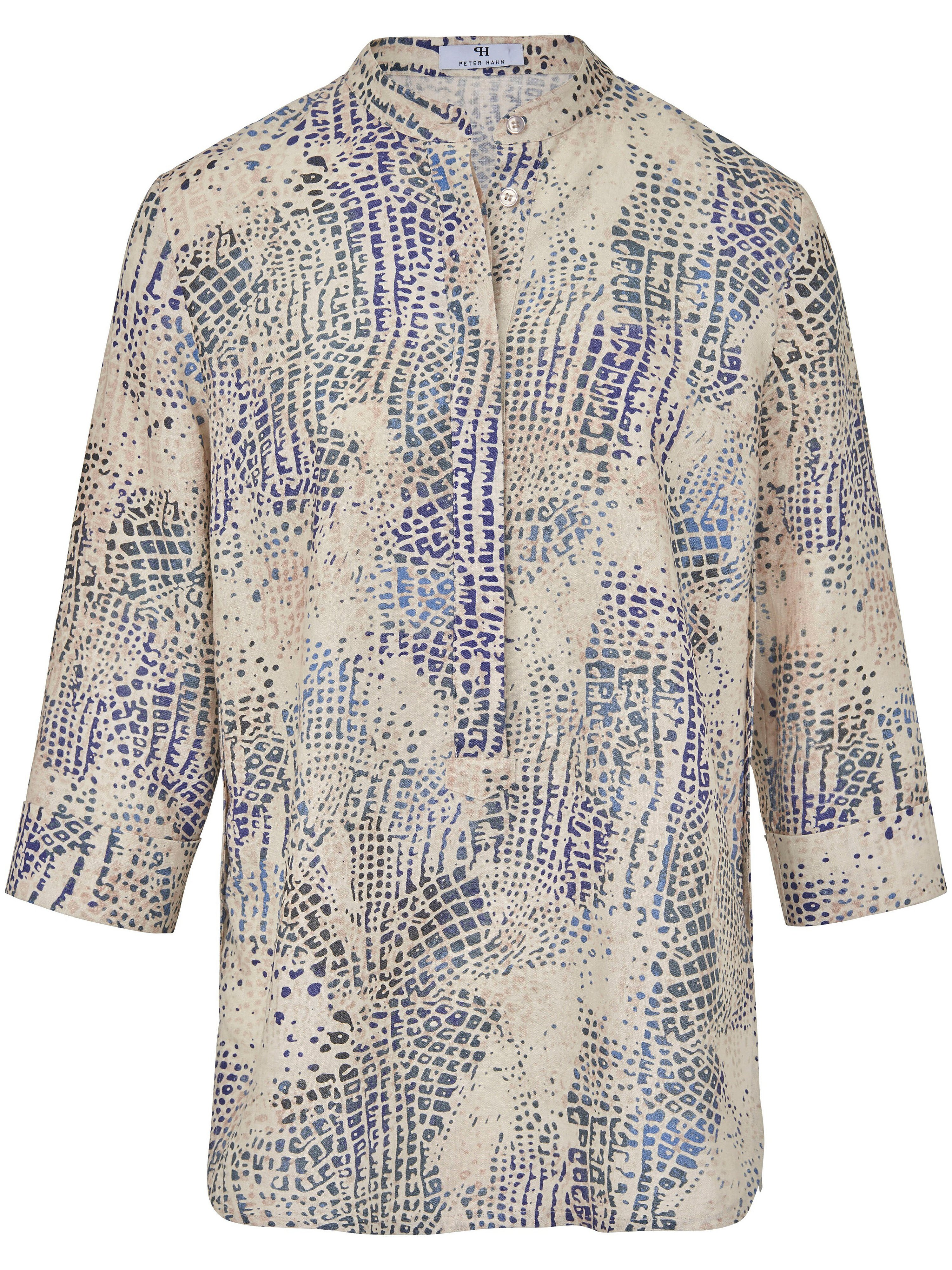 Blouse turn-up sleeves in 100% linen Peter Hahn multicoloured