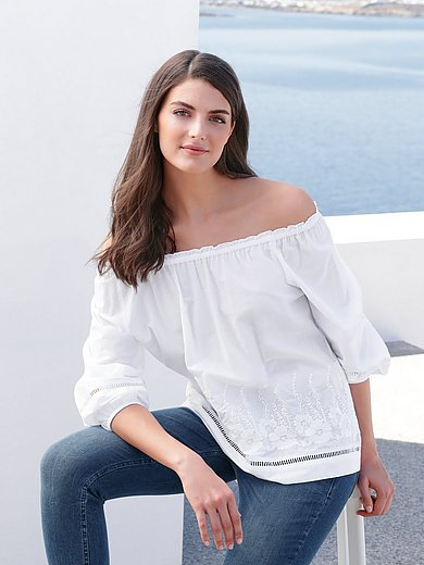 Just White - Bluse im Carmen-Stil