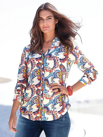Emilia Lay - Blouse with long turn-up sleeves and shirt collar